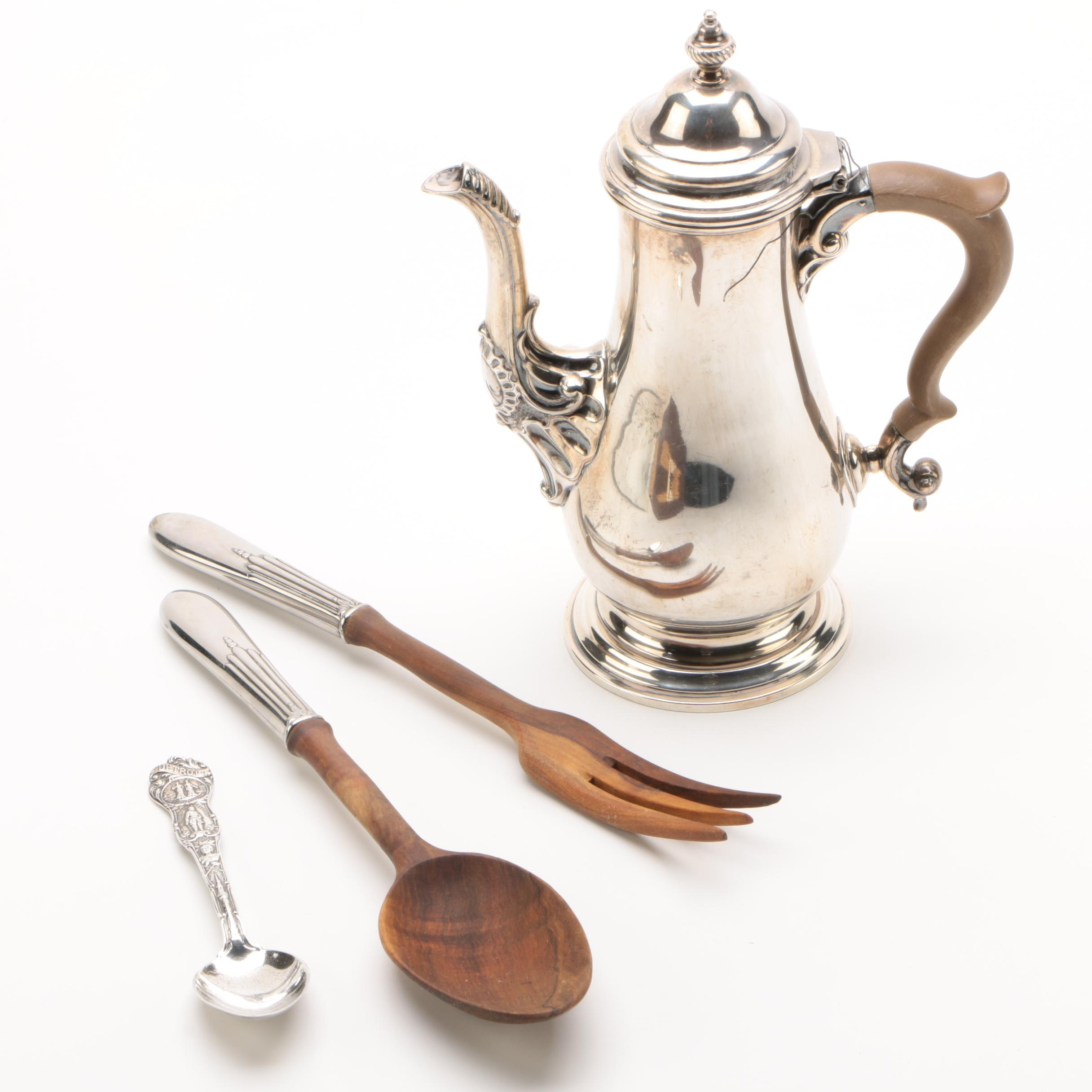Henry Birks & Sons Sterling Coffee Pot with Sterling Spoon and Salad Server Set