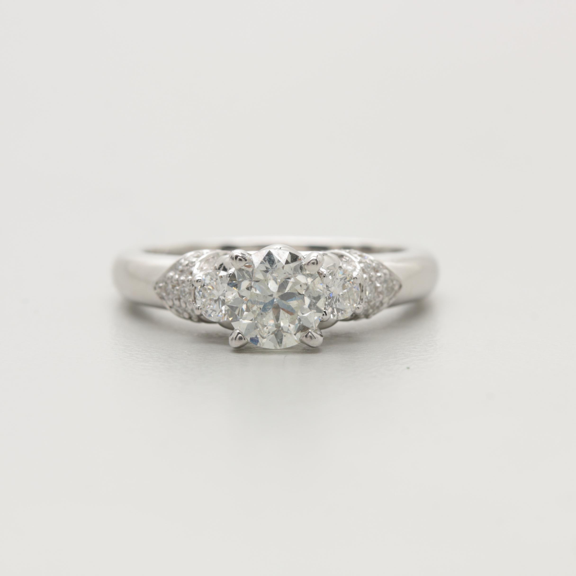 14K White Gold 1.33 CTW Diamond Ring