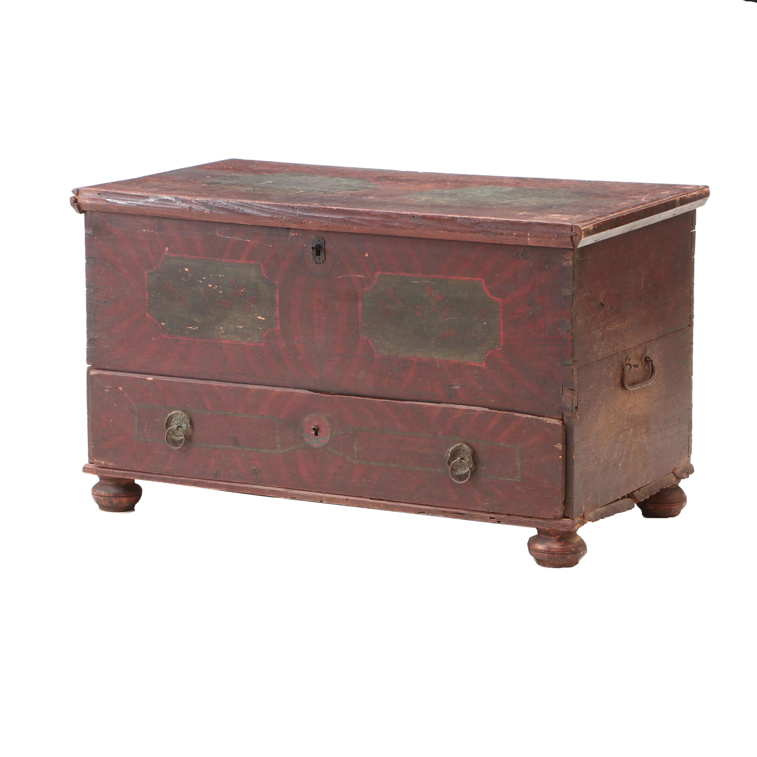 Scandinavian Paint-Decorated Pine Chest, Mid 19th Century