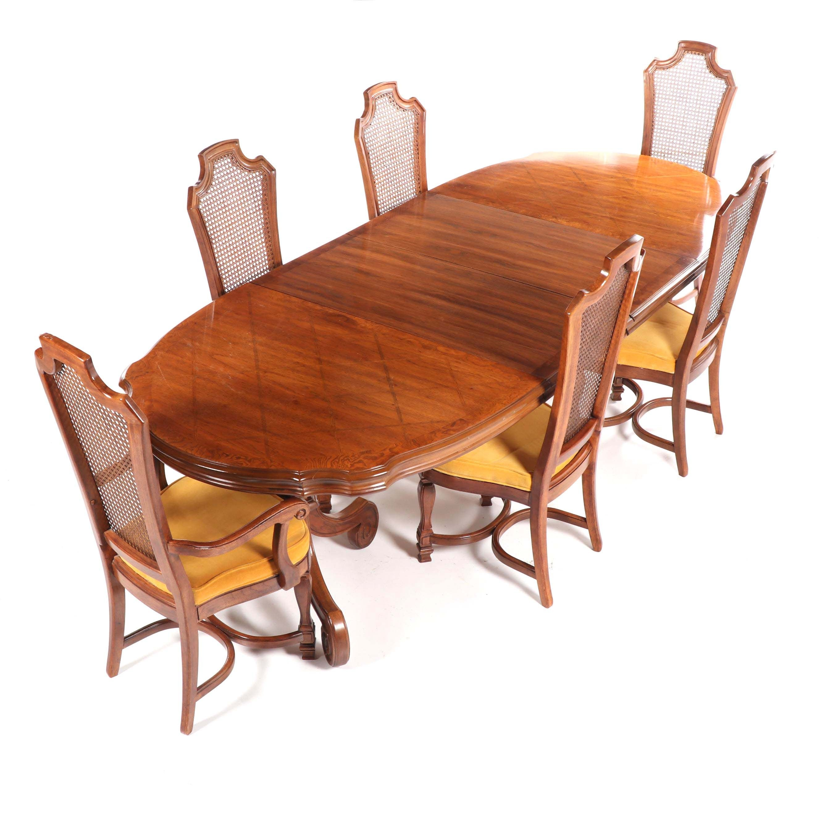 Spanish Revival Style Walnut Dining Set by Thomasville, Late 20th Century