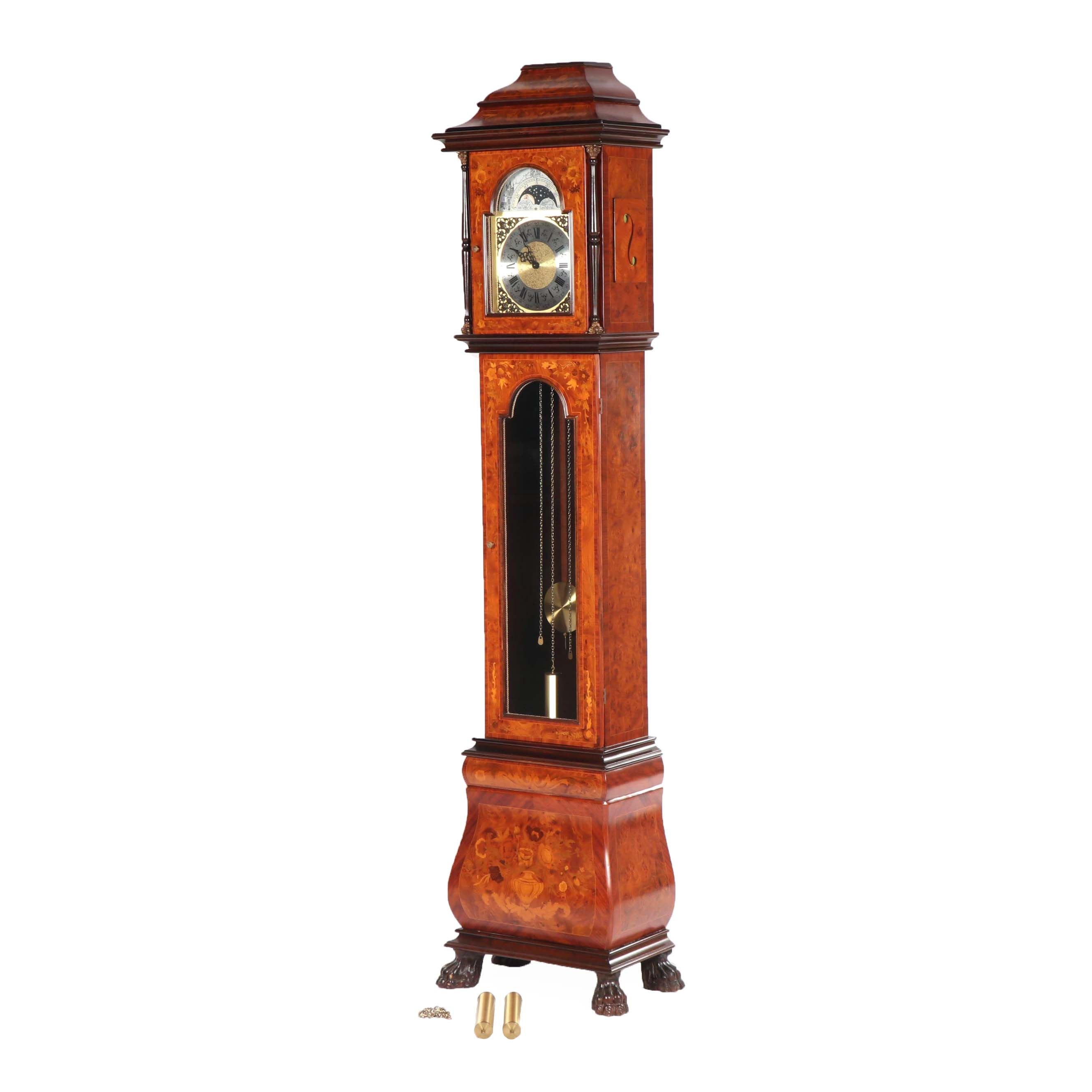 Franz Hermle Burl Wood and Inlaid Veneer Grandfather Clock