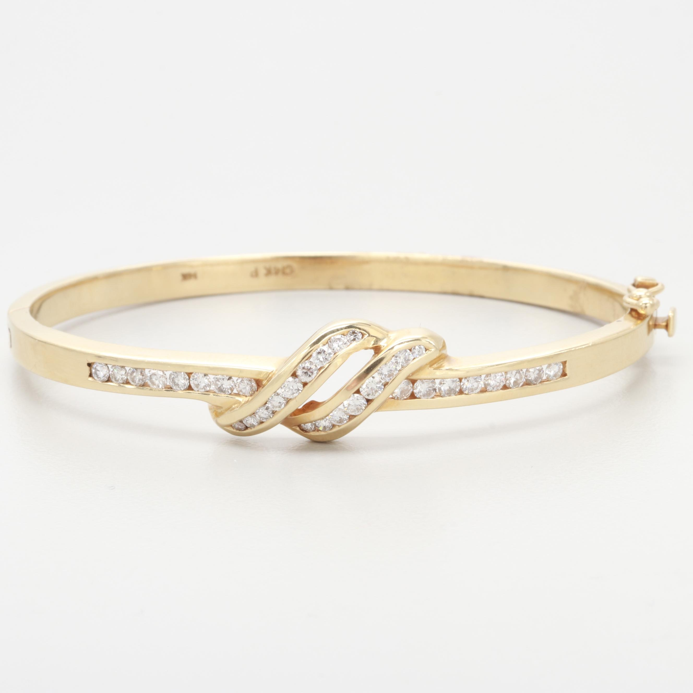 14K Yellow Gold Diamond Hinged Bangle Bracelet