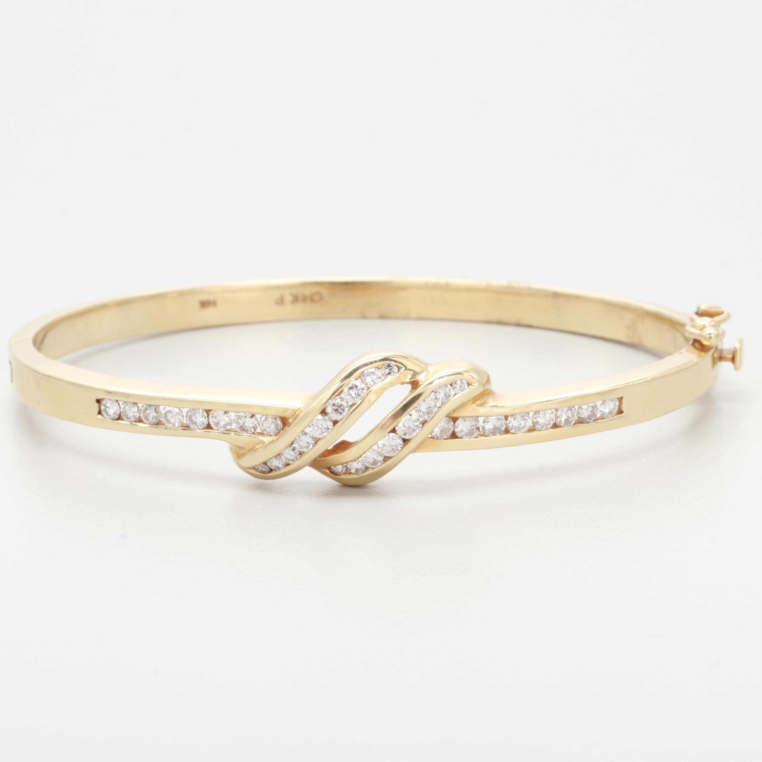 14K Yellow Gold Diamond Hinged Bangle Bracelet