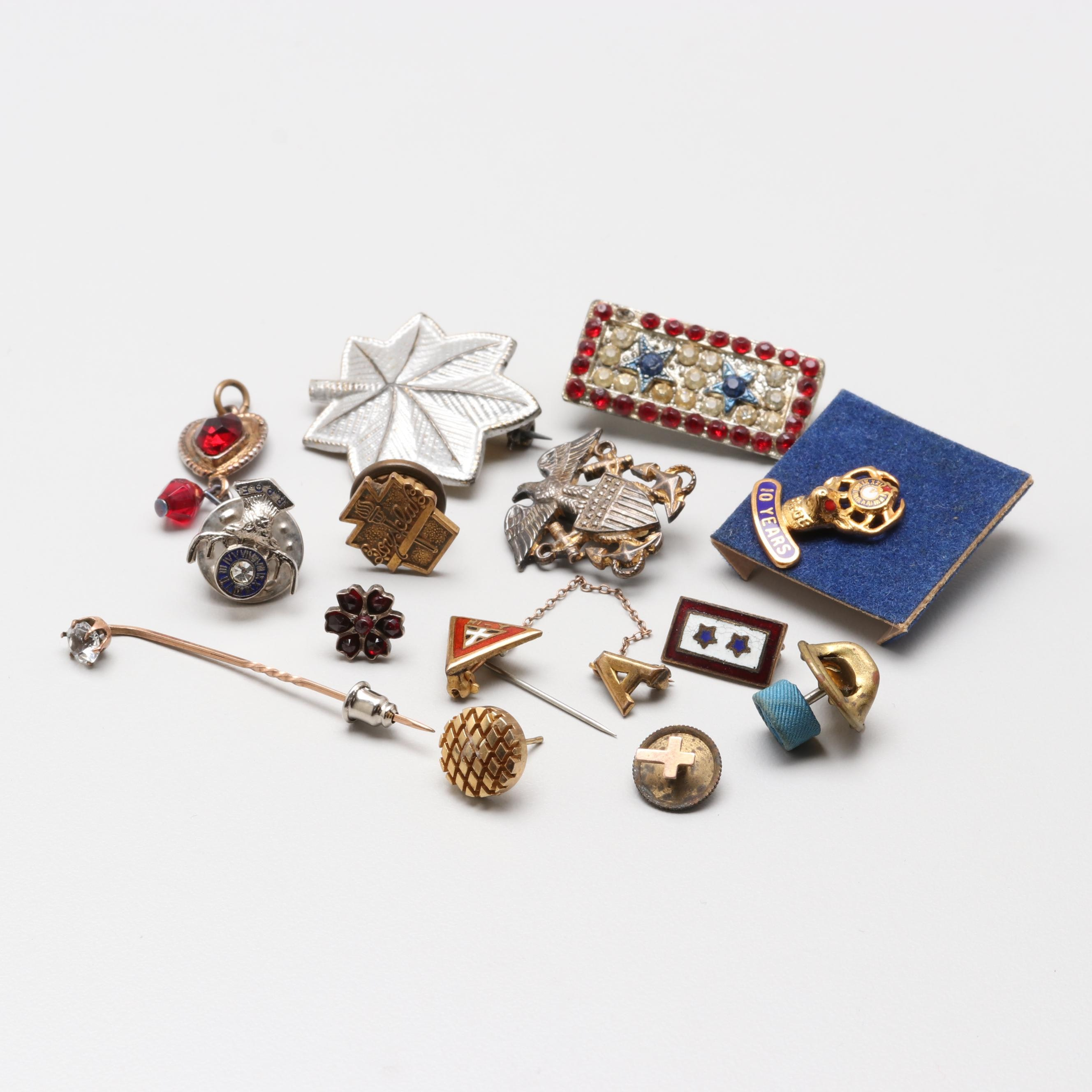 Jewelry Assortment Including Garnet, U.S. Navy and Elks Lodge Pins