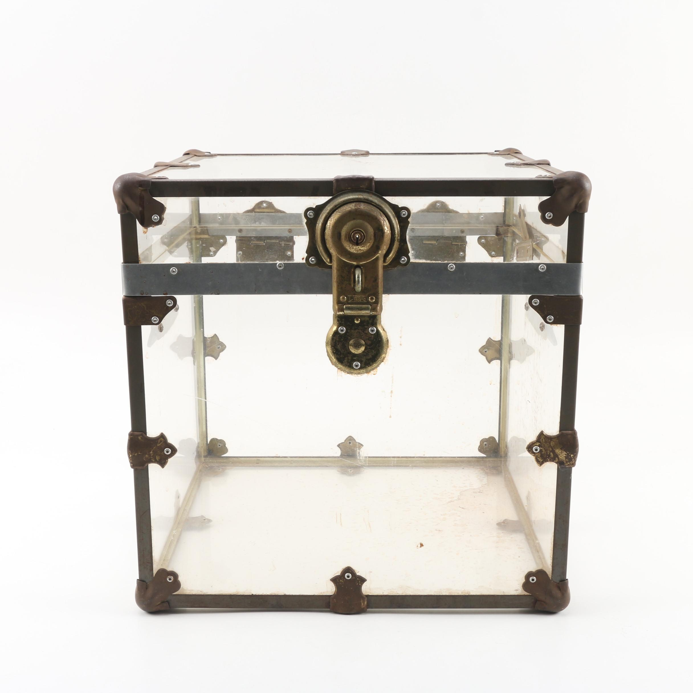 Clear Acrylic and Metal Trunk Style Storage Box