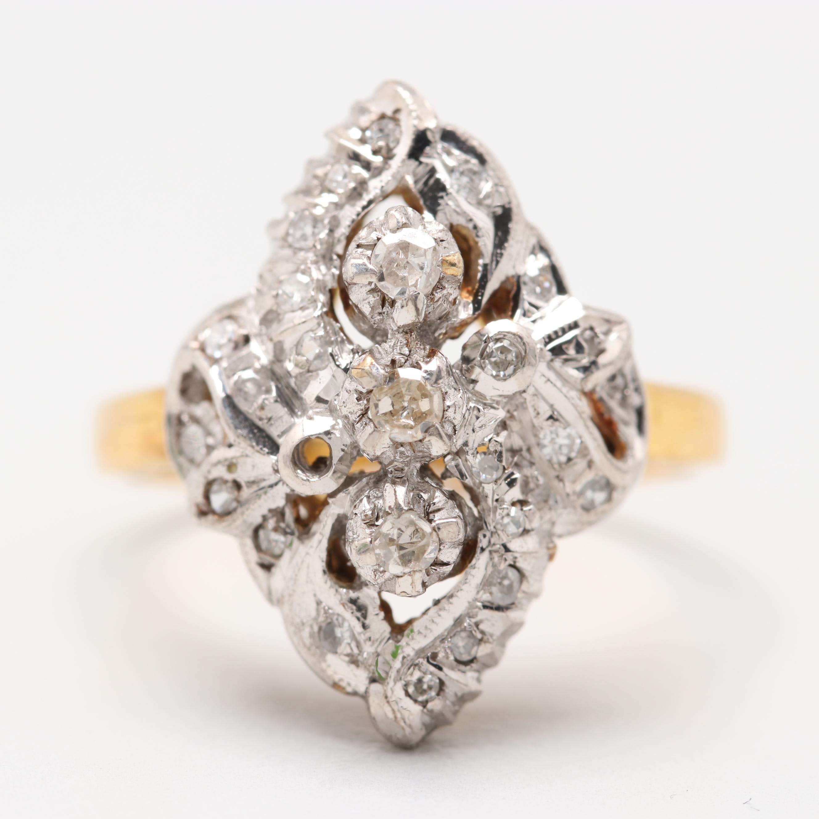 Gold Tone Sterling Silver Diamond Ring