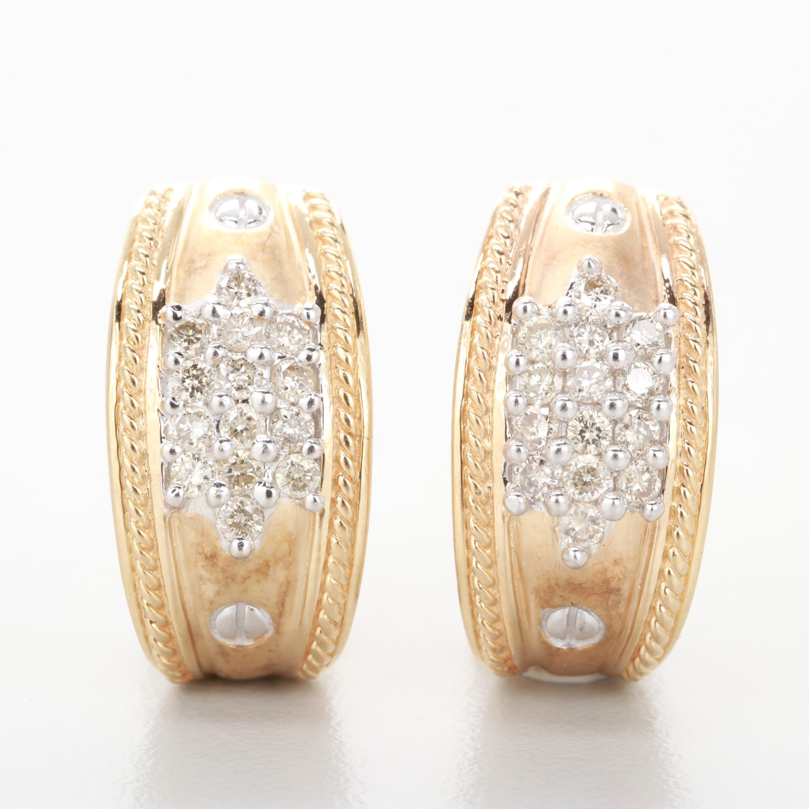 14K Yellow Gold Diamond J Hoop Earrings