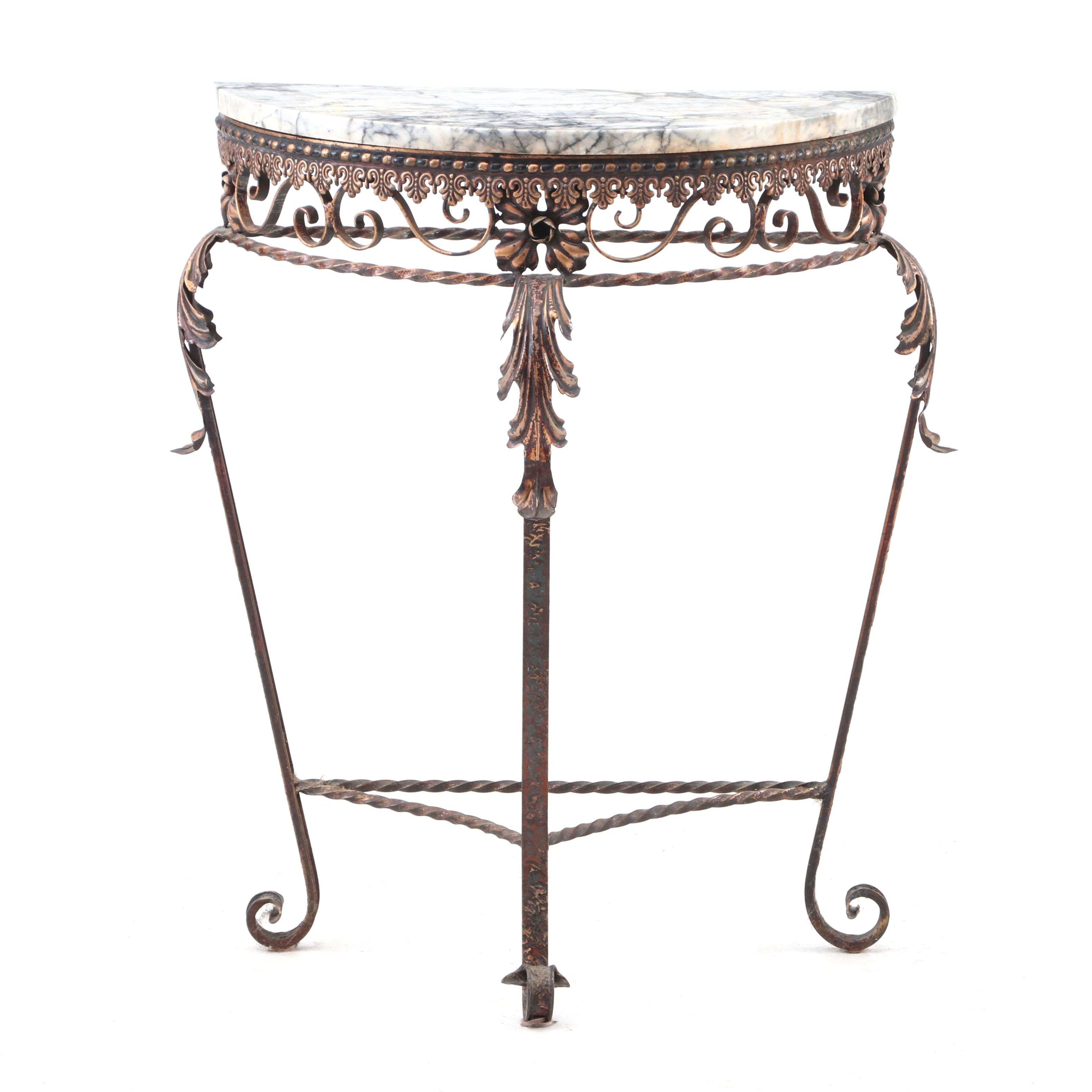 Neoclassical Style Iron and Marble Demilume Table
