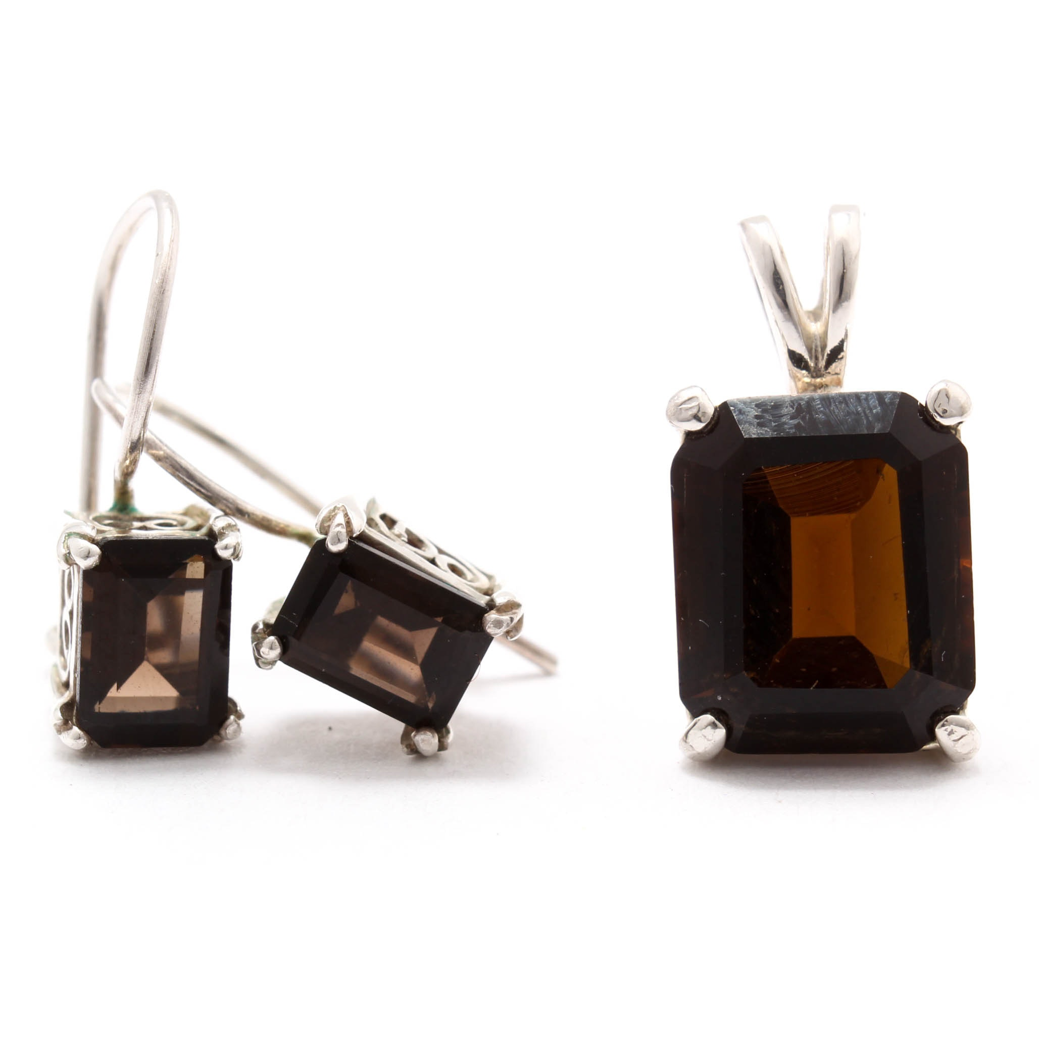 Sterling Silver Smoky Quartz Earrings and Pendant