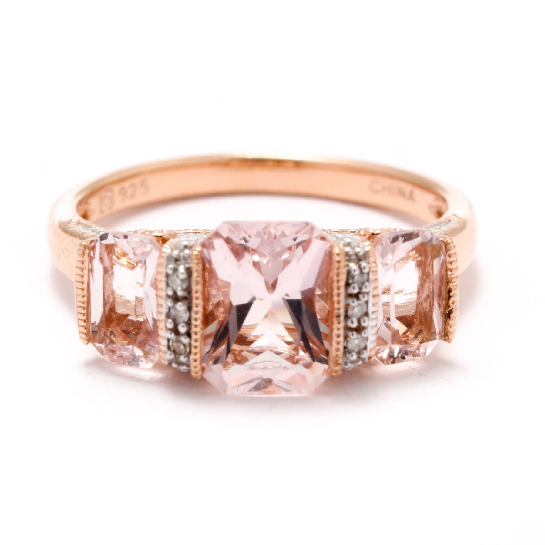 Rose Gold Wash on Sterling Silver Ring with Diamonds and Morganite