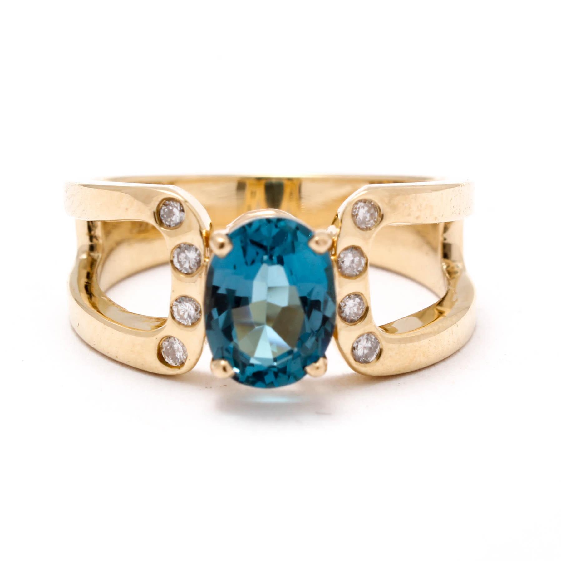14K Yellow Gold Blue Topaz an Diamond Ring