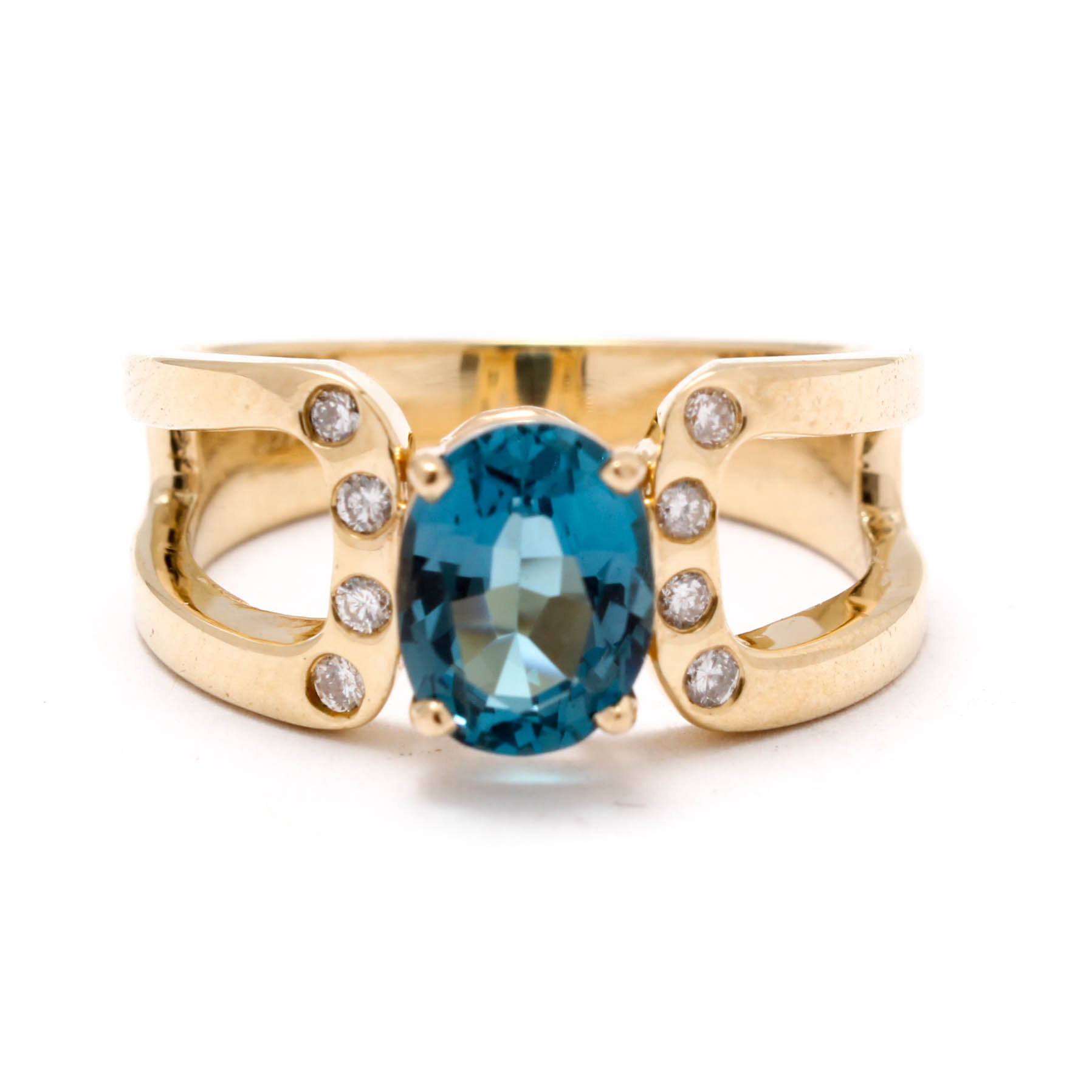 14K Yellow Gold Blue Topaz an Diamond Ring