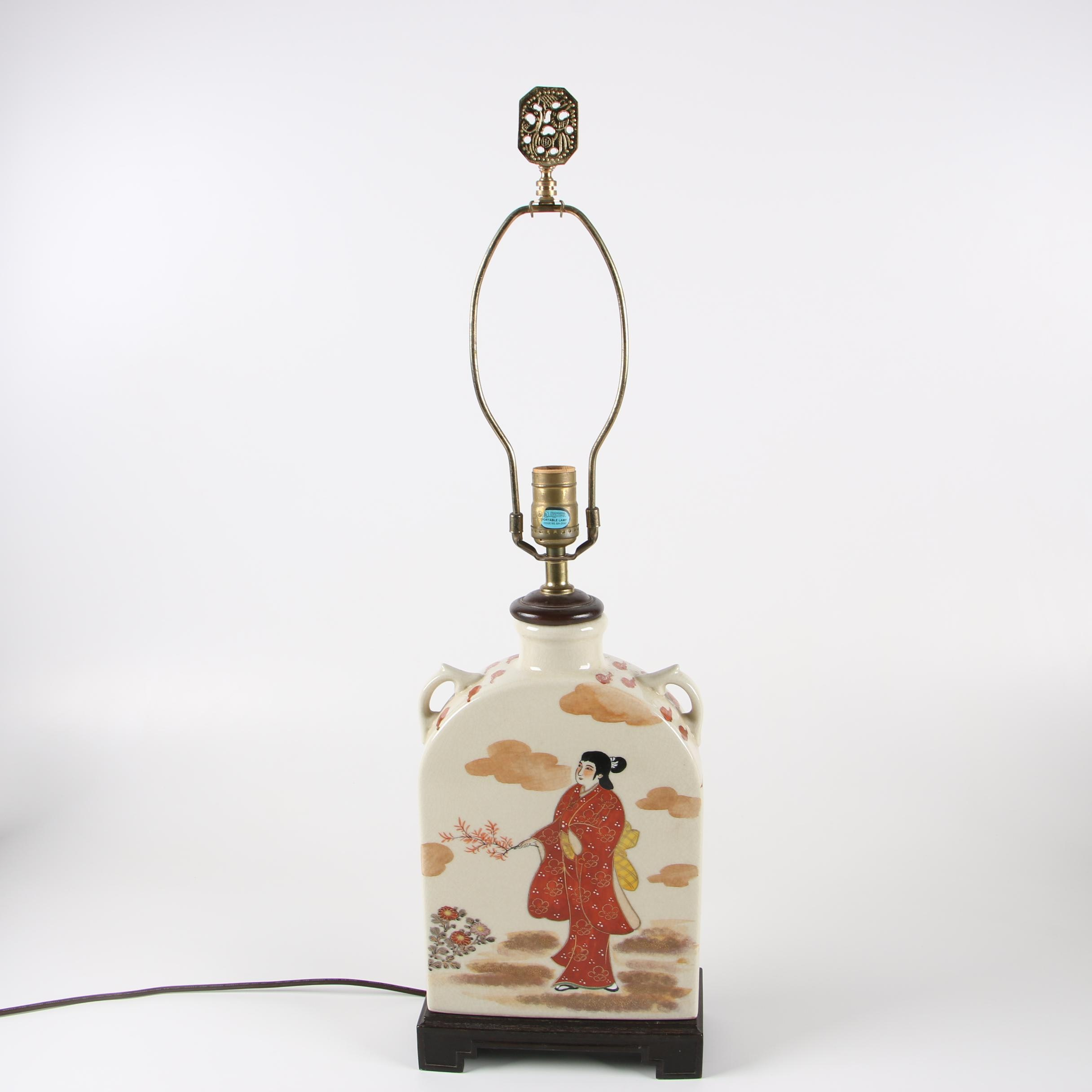 Chinese Ceramic Flat Vase Form Table Lamp, Late 20th Century