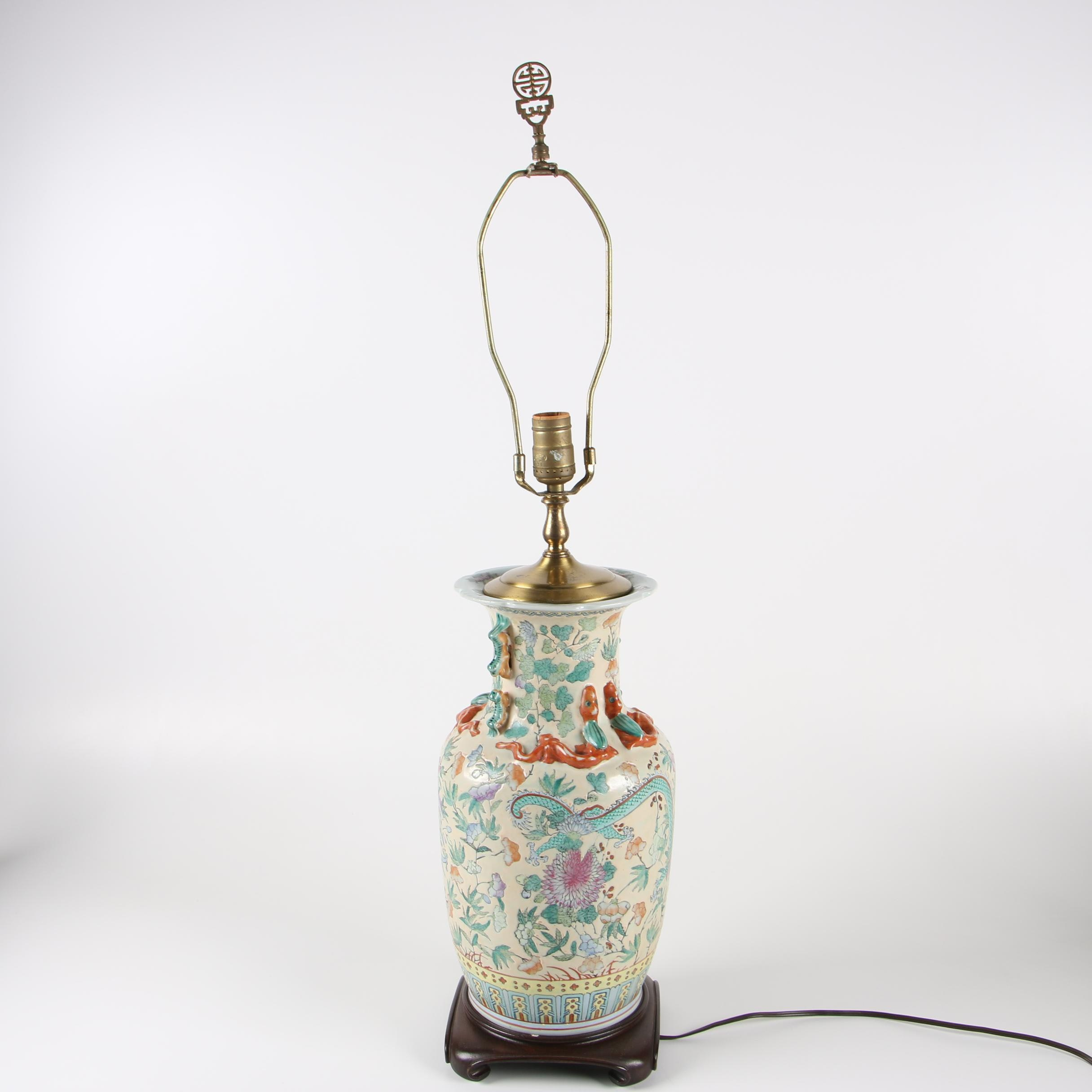 Chinese Ceramic Vase Table Lamp, Late 20th Century