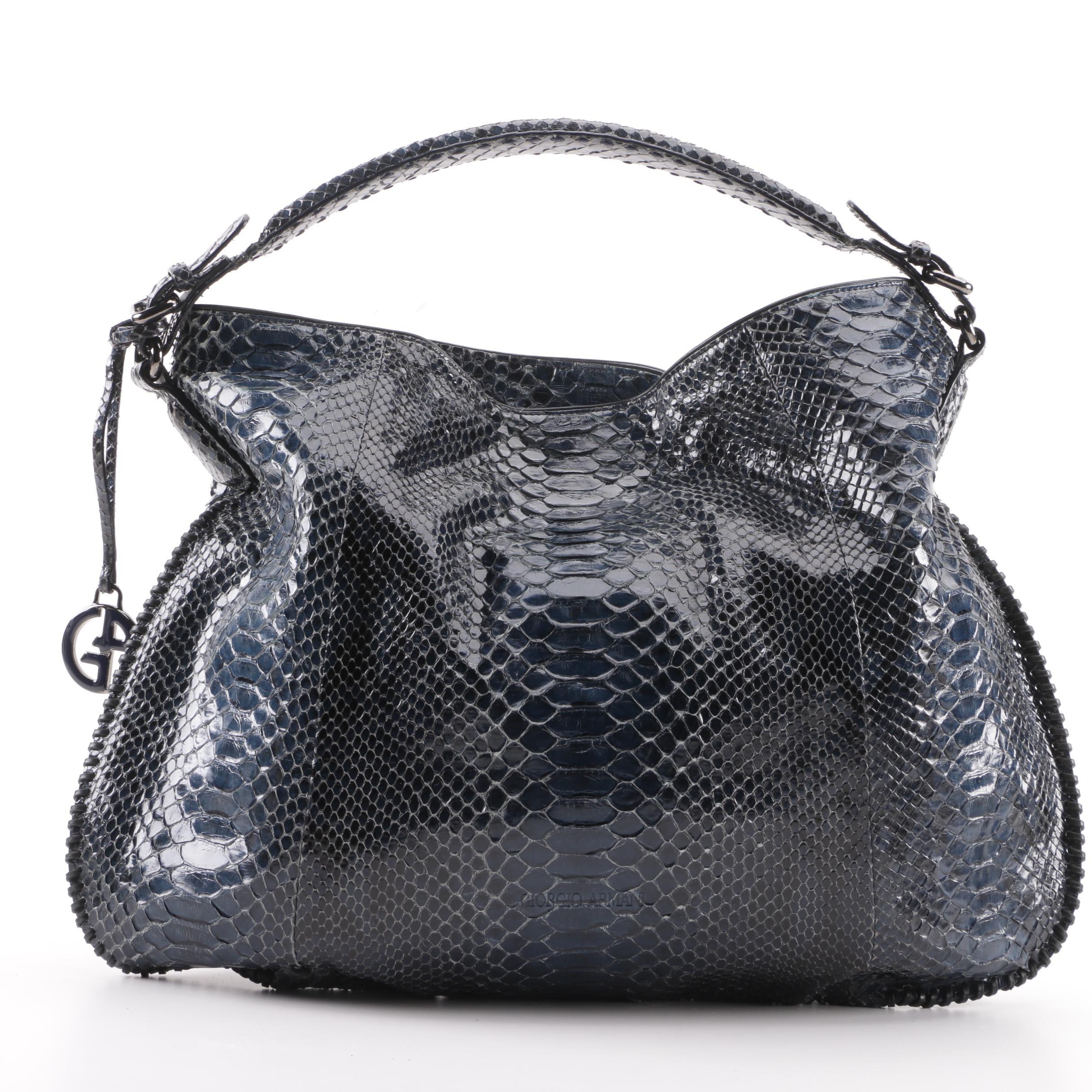 Giorgio Armani Blue Python Skin Hobo Bag