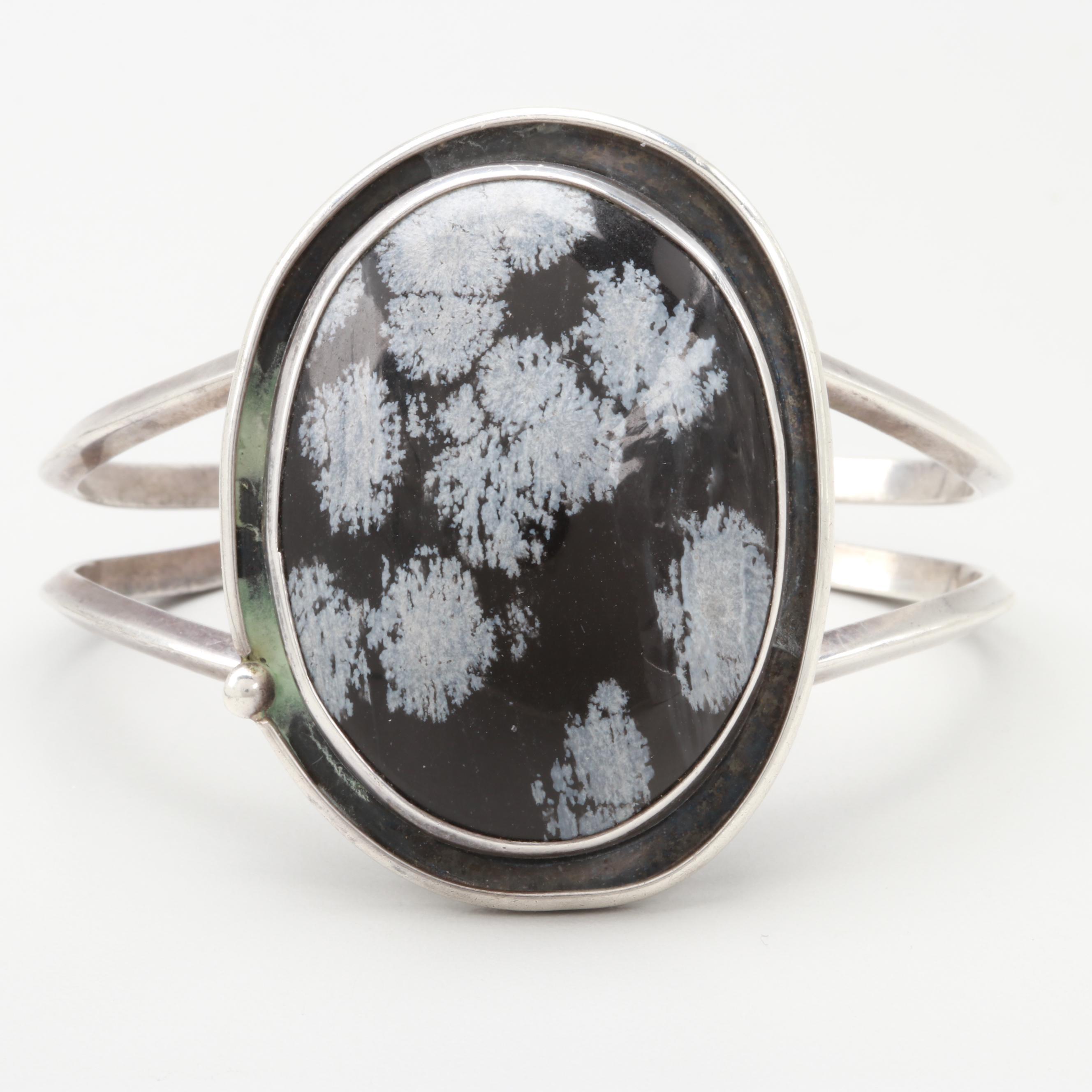 Vintage Sterling Silver Snowflake Obsidian Cabochon Bracelet