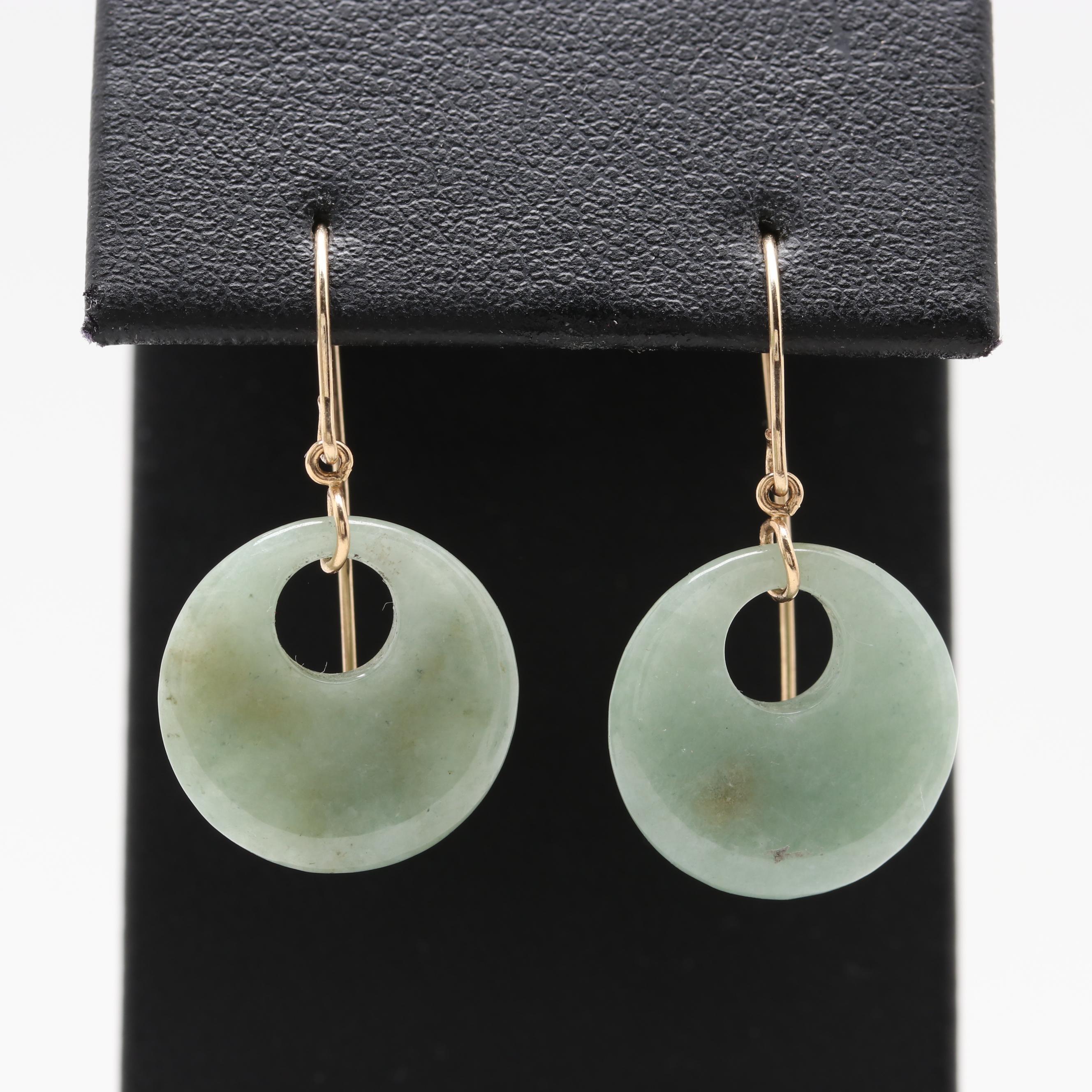 14K Yellow Gold Carved Jadeite Dangle Earrings