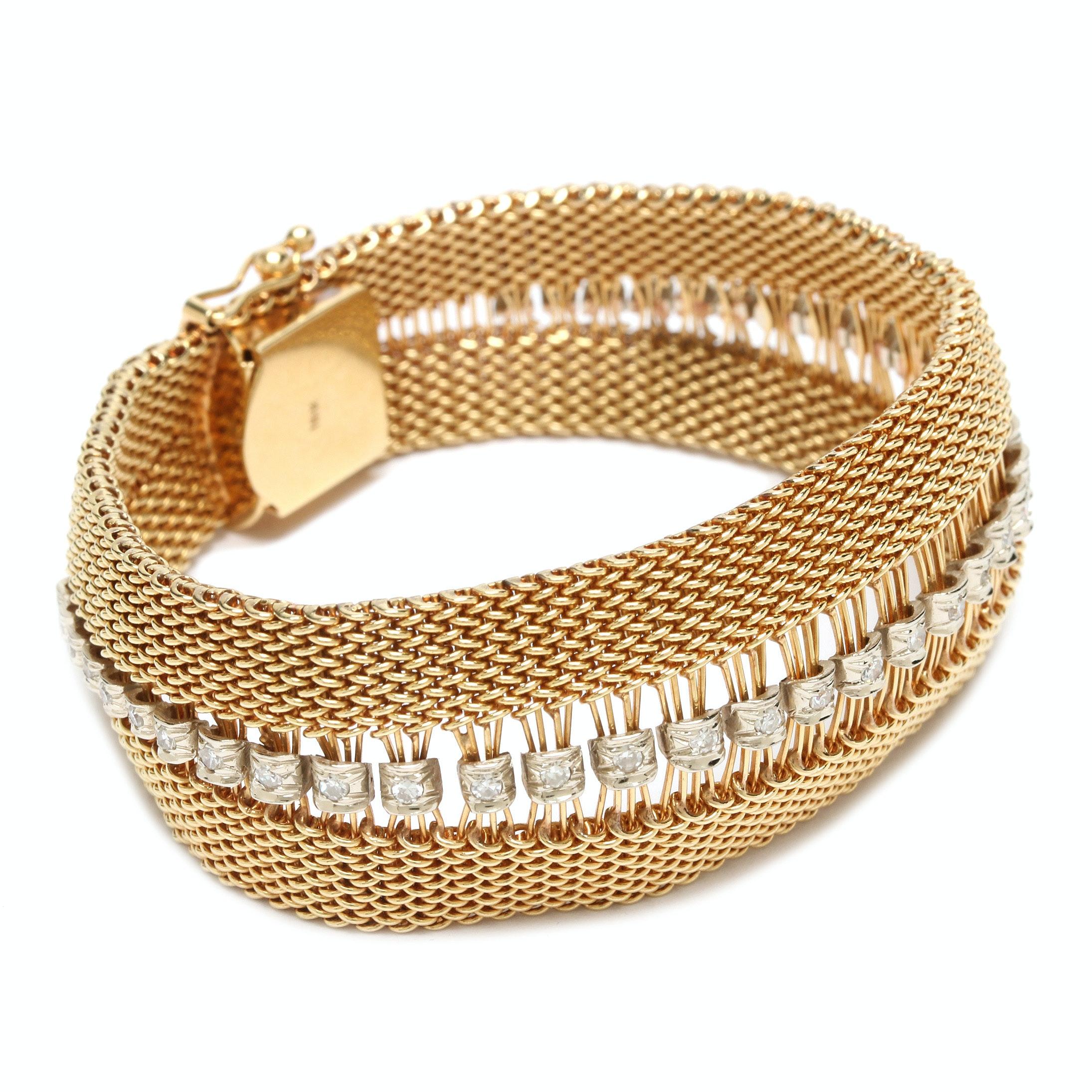 18K Yellow Gold Diamond Woven Mesh Bracelet