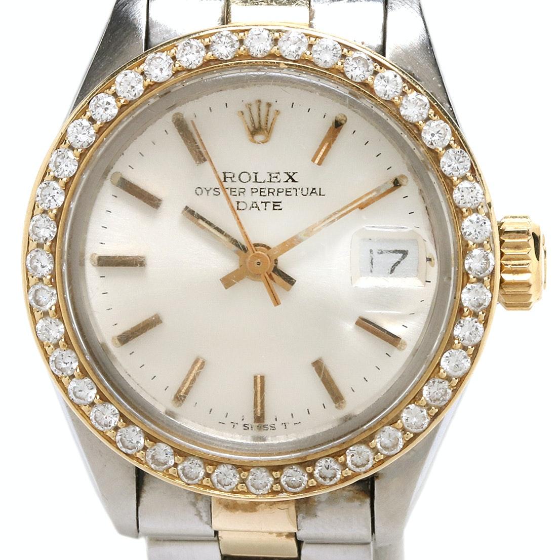 Rolex 14K and 18K Yellow Gold Wristwatch With Diamond Bezel, 1979
