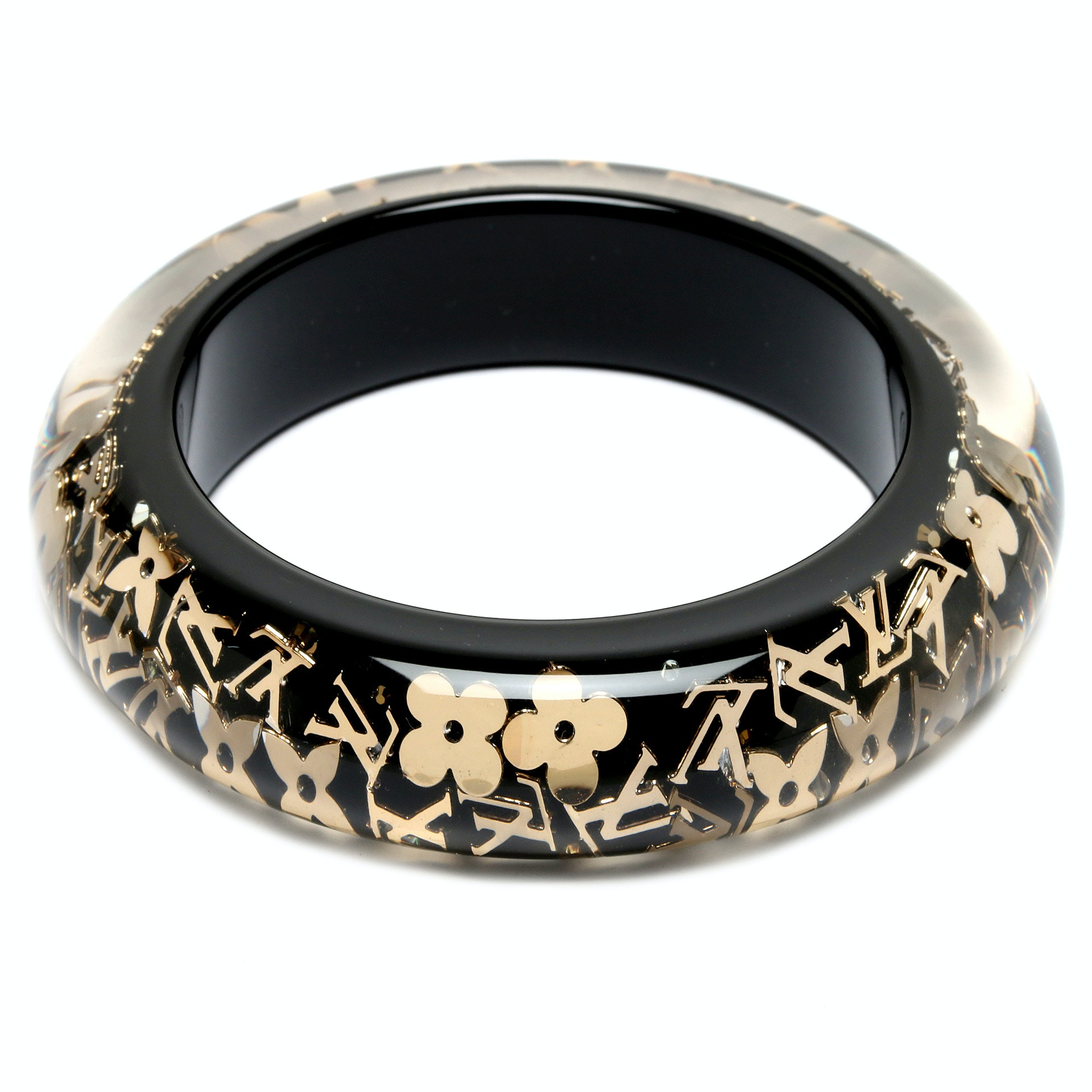 Louis Vuitton Black and Gold Resin Inclusion Bangle with Glass Crystal Accents
