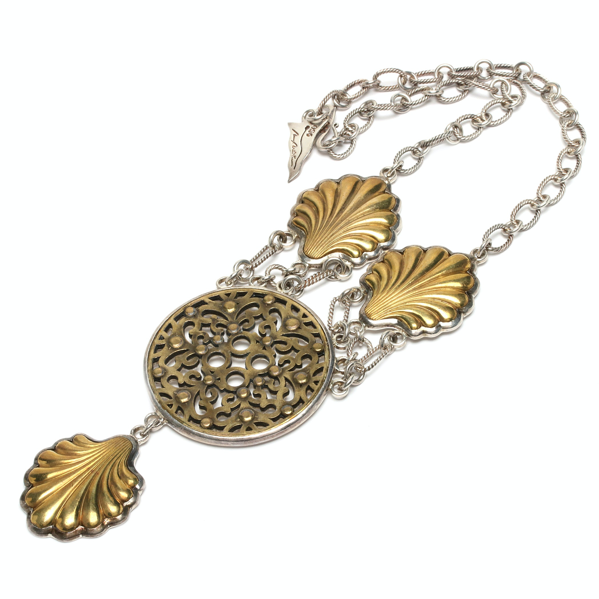 Barry Brinker 950 Silver and Brass Necklace