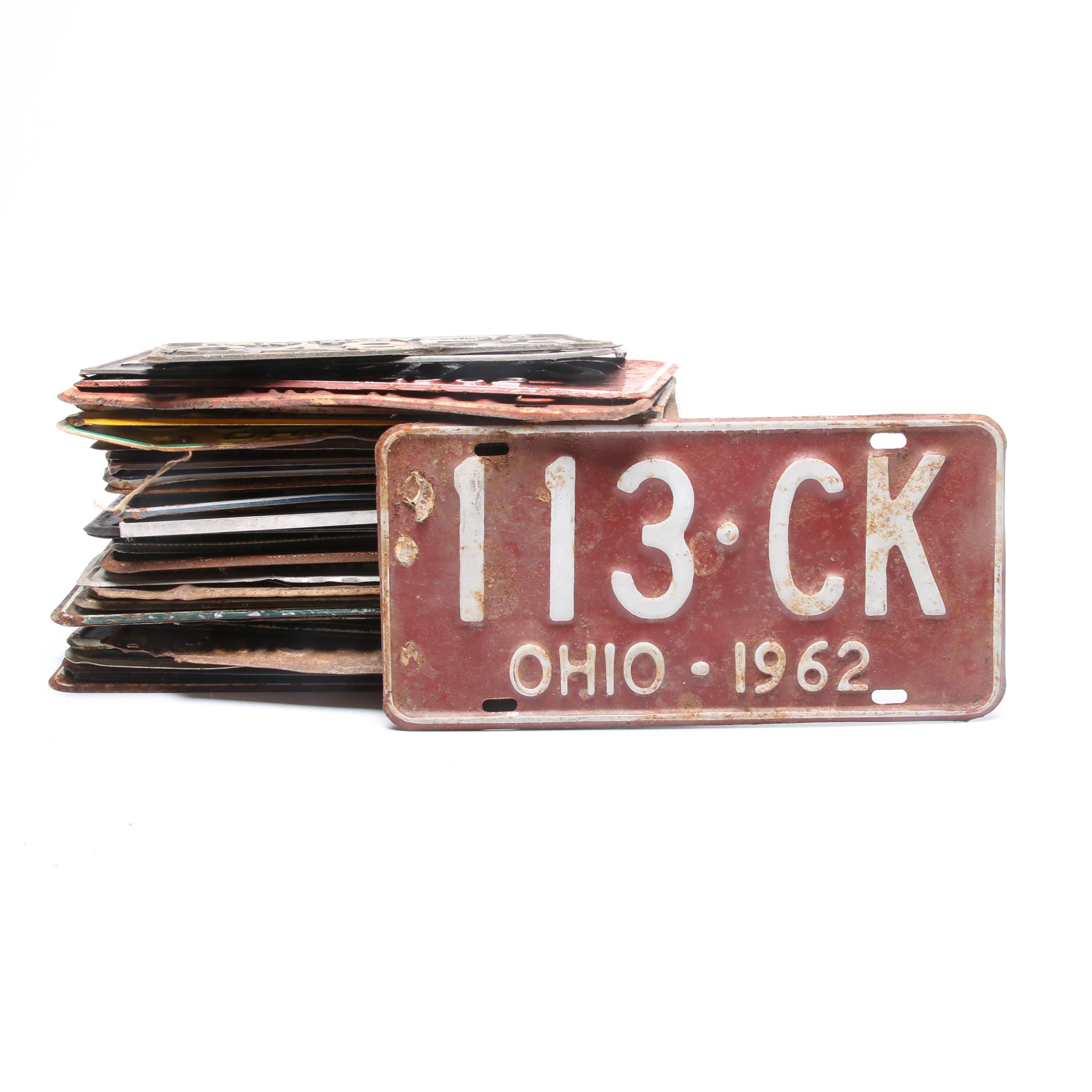 Vintage License Plate Collection Including Ohio and Kentucky