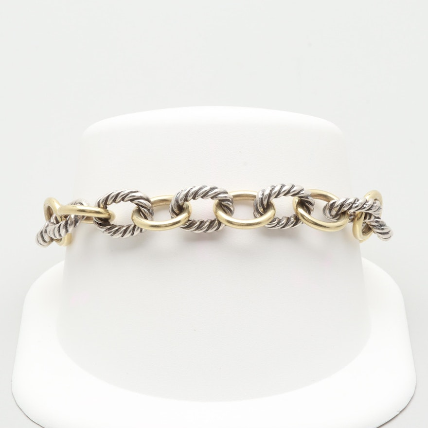 a3007e424a4 David Yurman 18K Yellow Gold and Sterling Silver Medium Oval Link Bracelet  ...