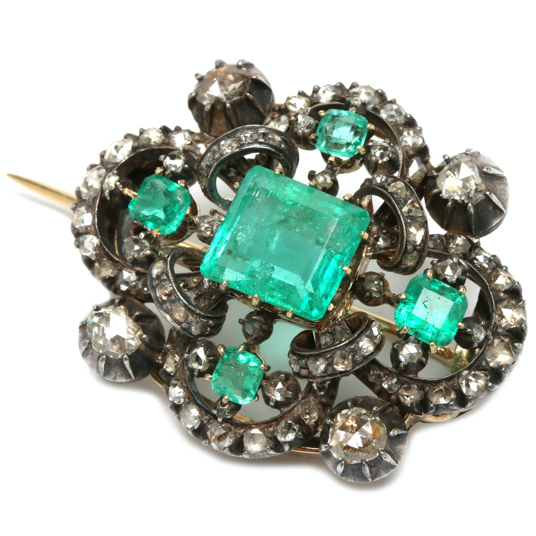 Georgian Sterling and 14K Emerald and 1.01 CTW Diamond Brooch with GIA Report