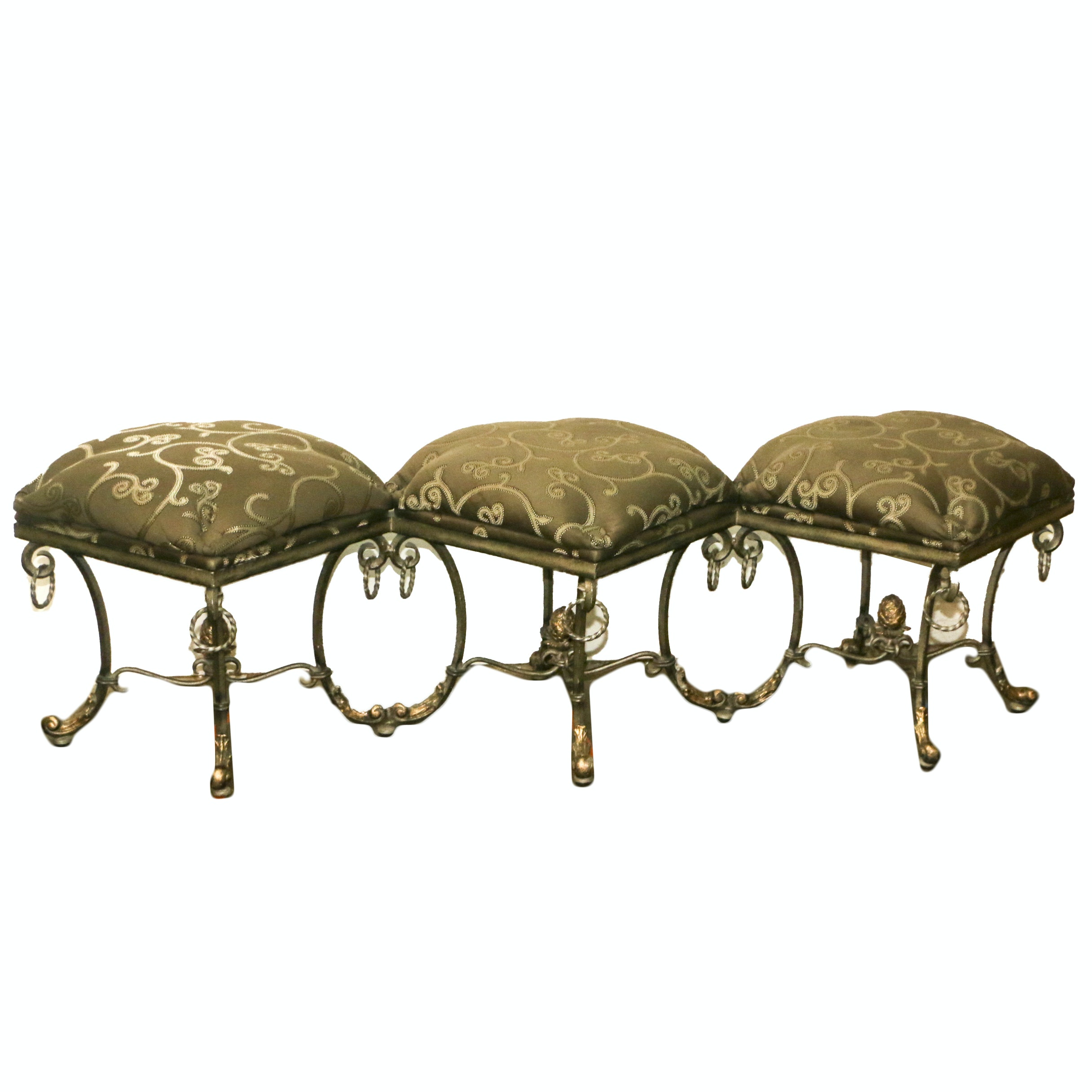 Neoclassical Style Metal Frame Upholstered Three-Seat Bench, 21st Century