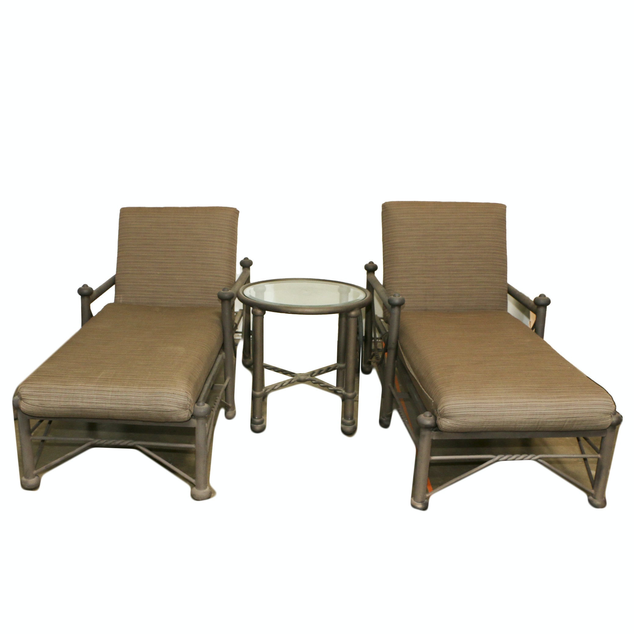 Chaise Patio Lounge Pair with Glass Topped Side Table