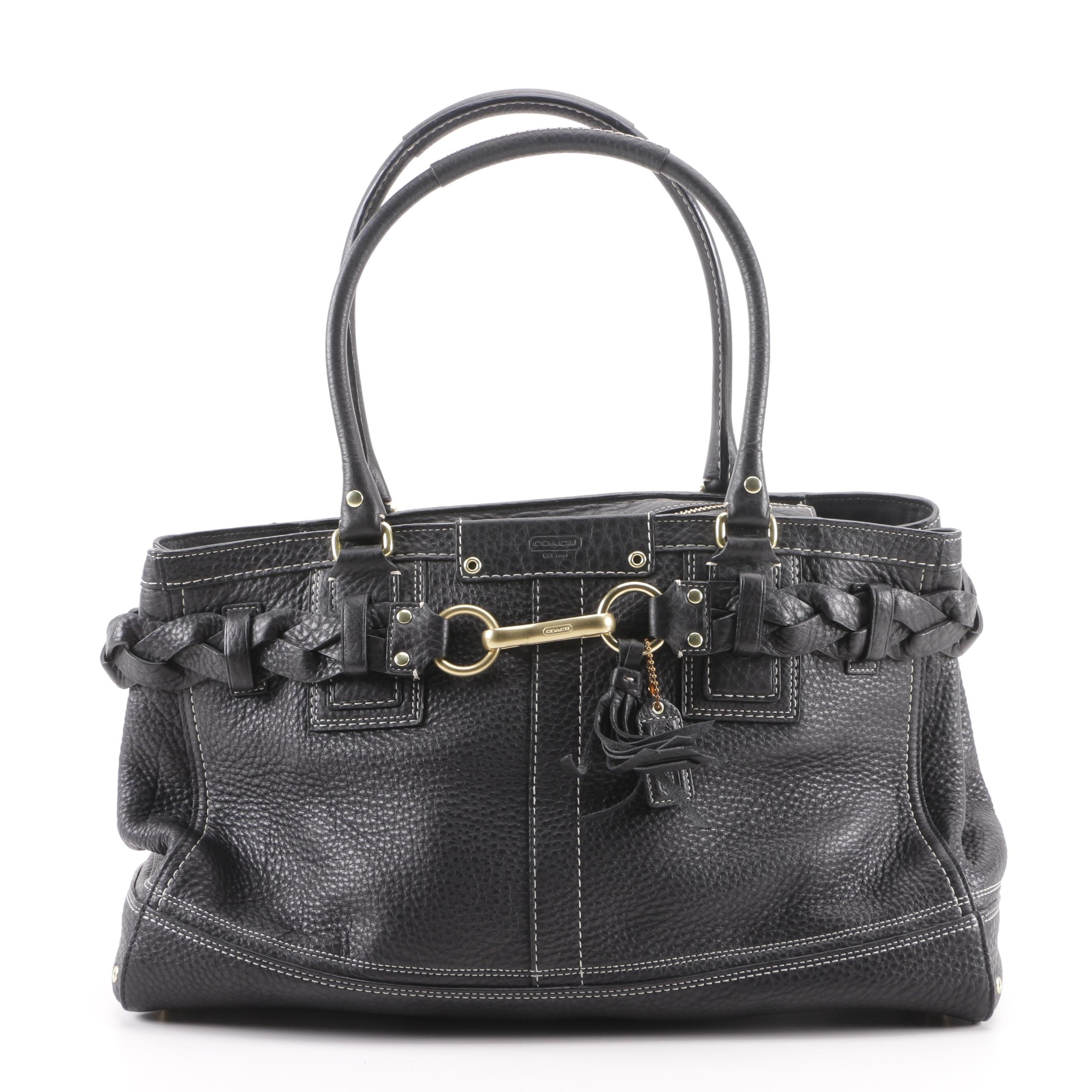 Coach Hamptons Black Leather Contrast-Stitched Carryall