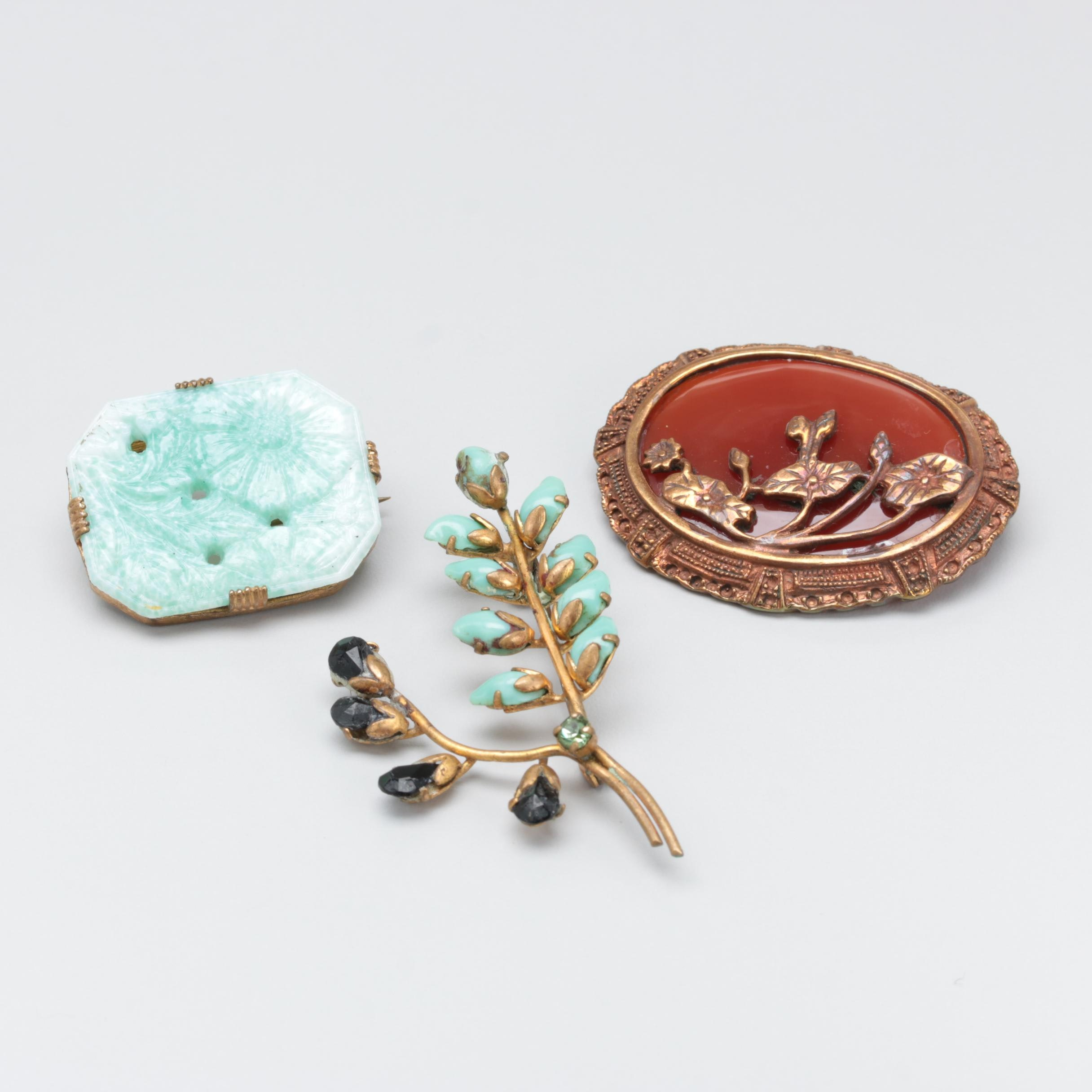 Collection of Vintage Victorian Floral Brooches including Poured, Pressed Glass
