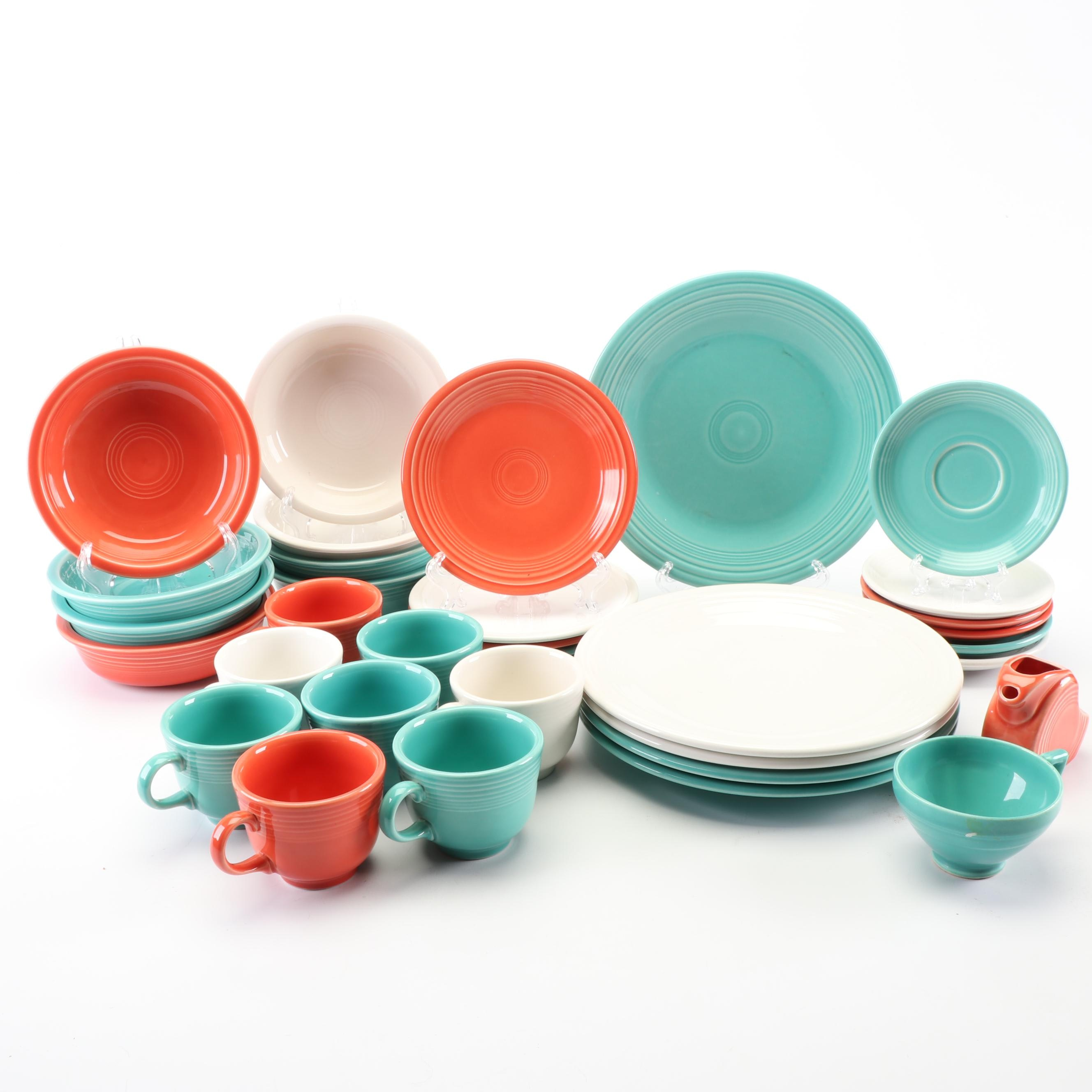 Fiestaware Coffee Cups, Saucers, Creamer, and Dining Set