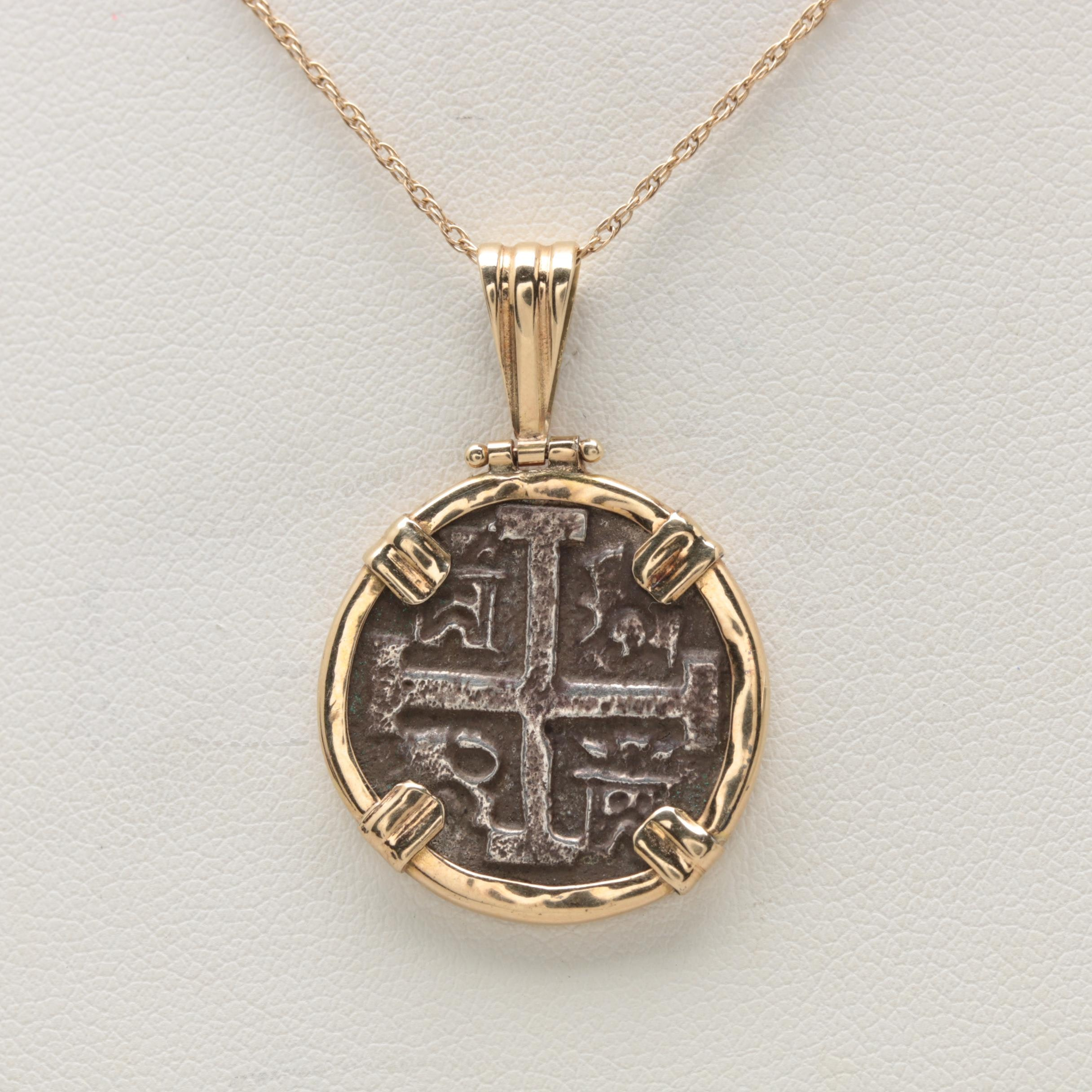 14K Yellow Gold Necklace with Hinged Coin Holder Pendant