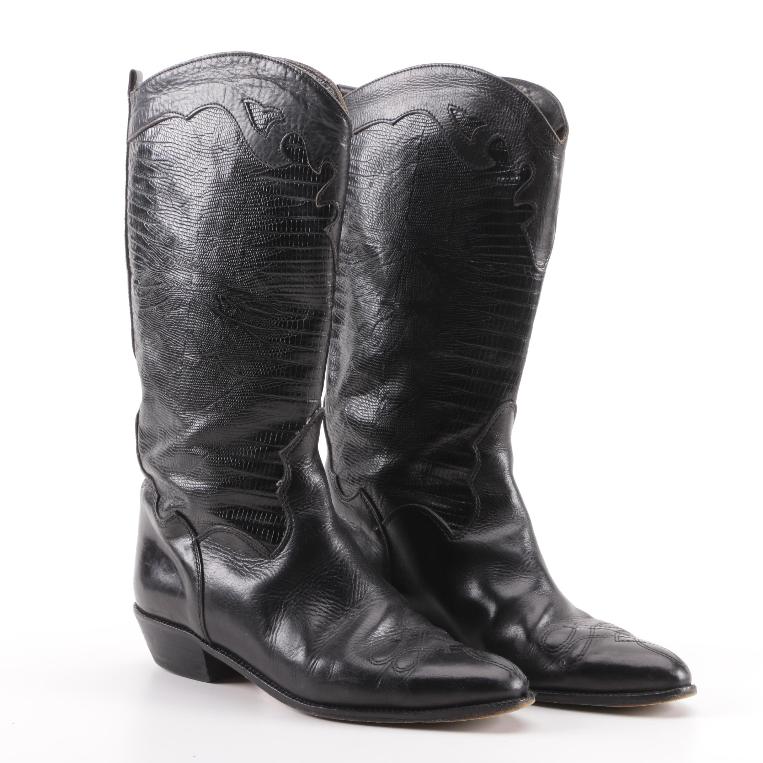 Joan & David Black Embossed Leather Boots