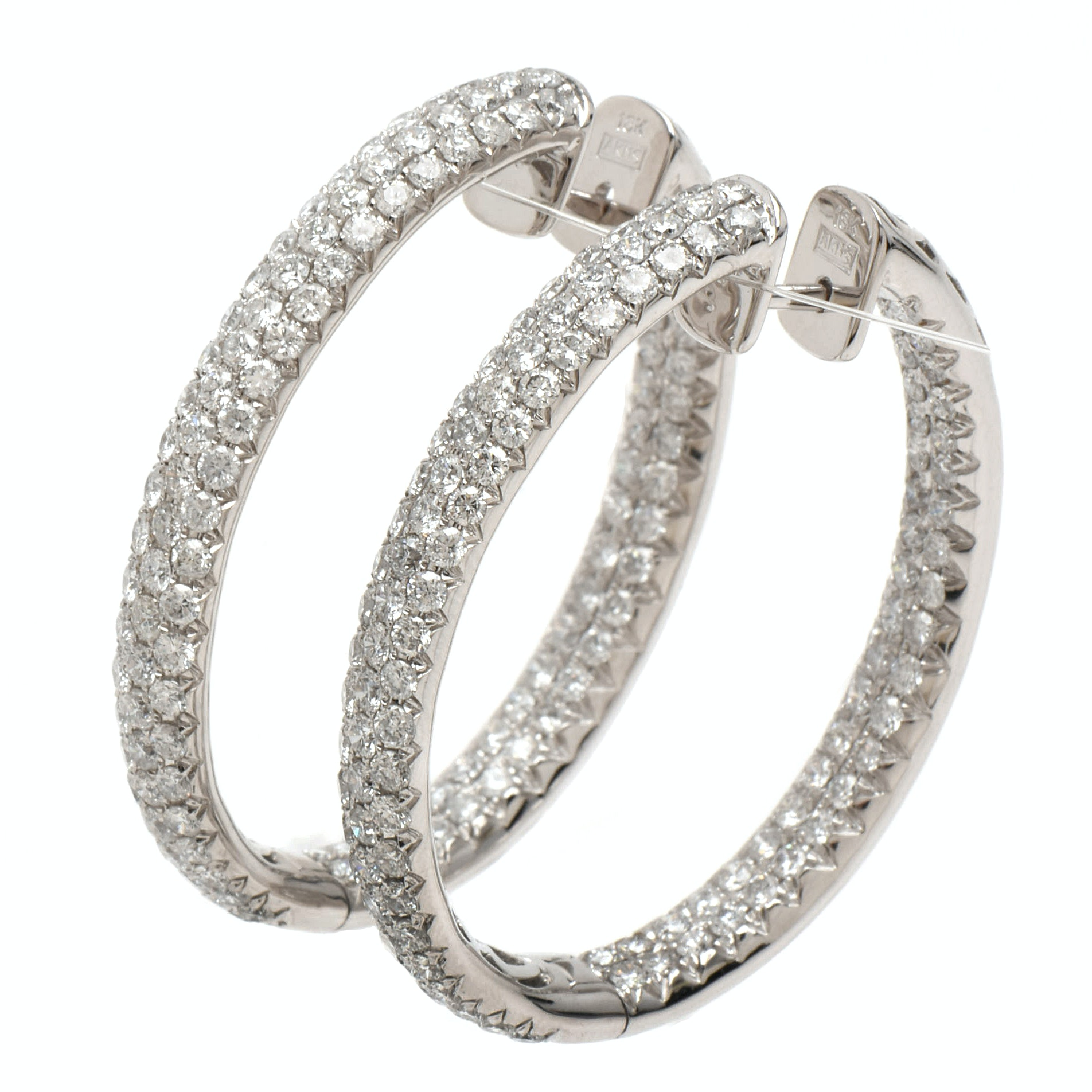 18K White Gold 7.29 CTW Diamond Hoop Earrings