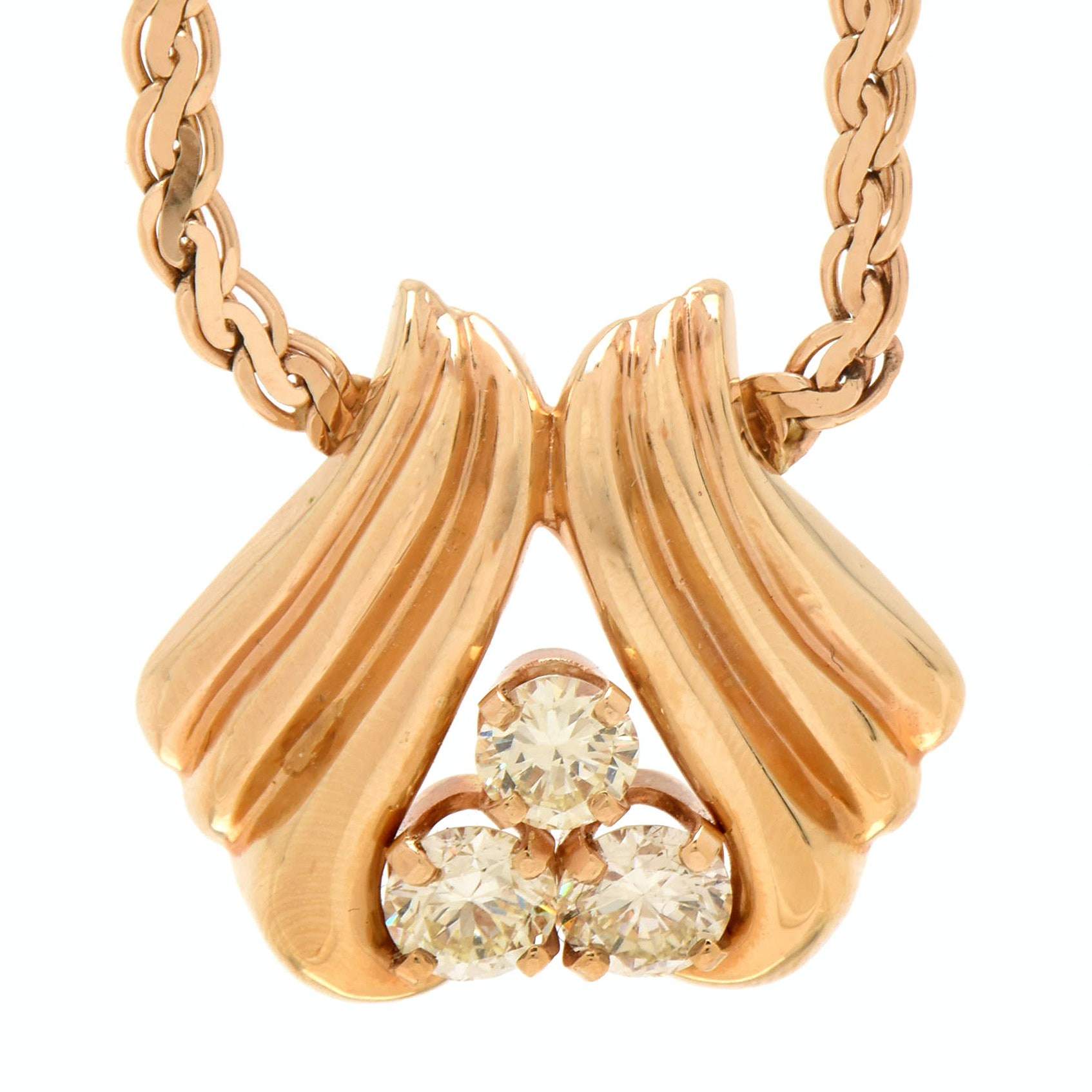 14K Yellow Gold 2.08 CTW Diamond Necklace