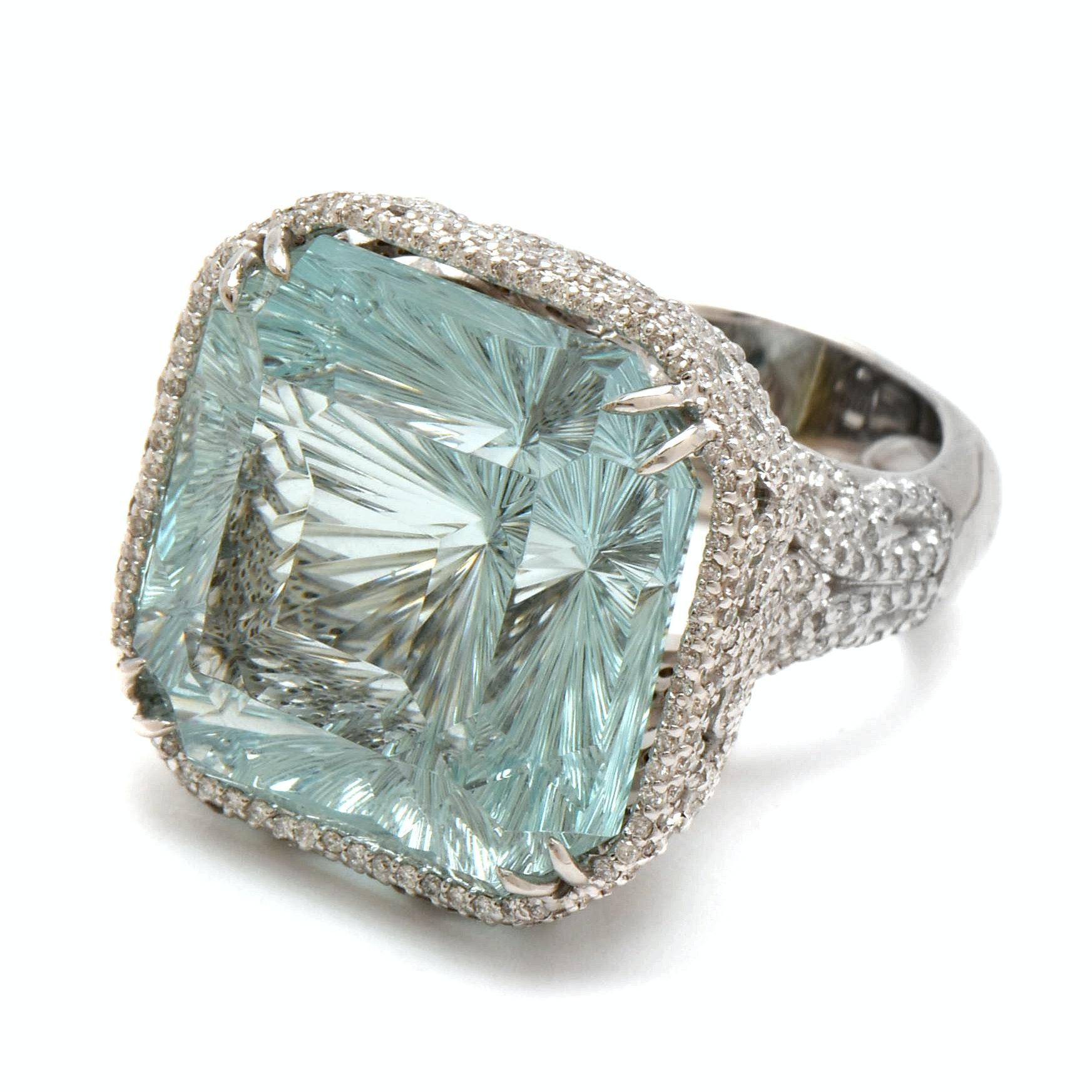 18K White Gold 51.14 CT Fantasy Cut Aquamarine and 3.05 CTW Diamond Ring