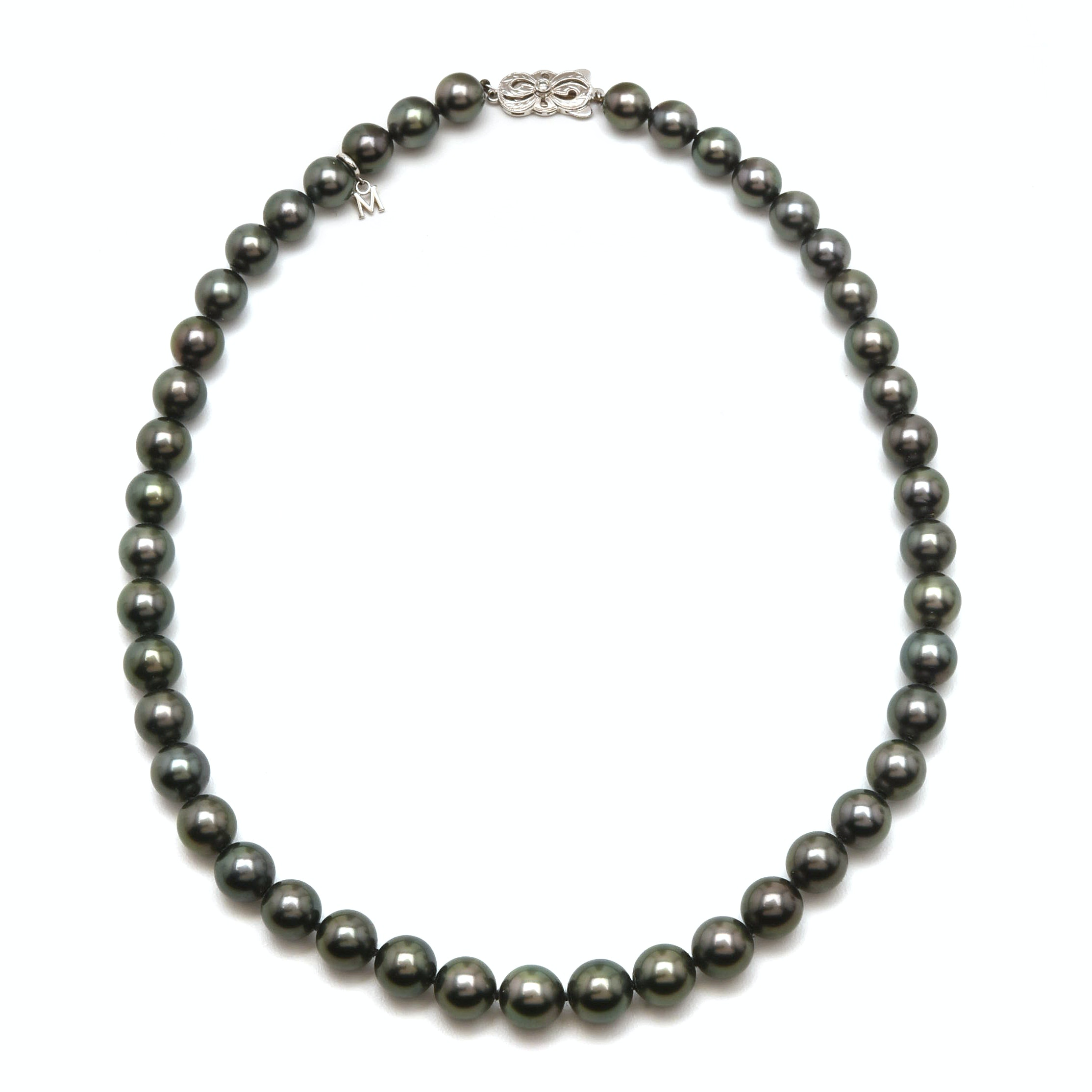 Mikimoto 18K White Gold Black Cultured Pearl Necklace With Diamond Accent