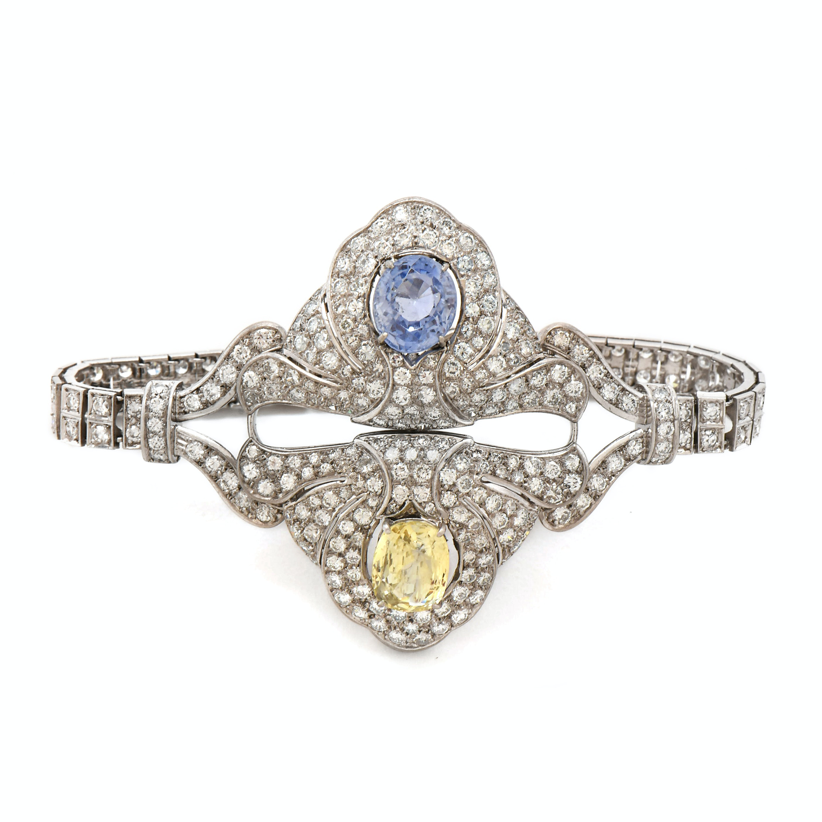 14K Gold, Platinum Untreated Yellow and Blue Sapphire with Diamond Bracelet, GIA