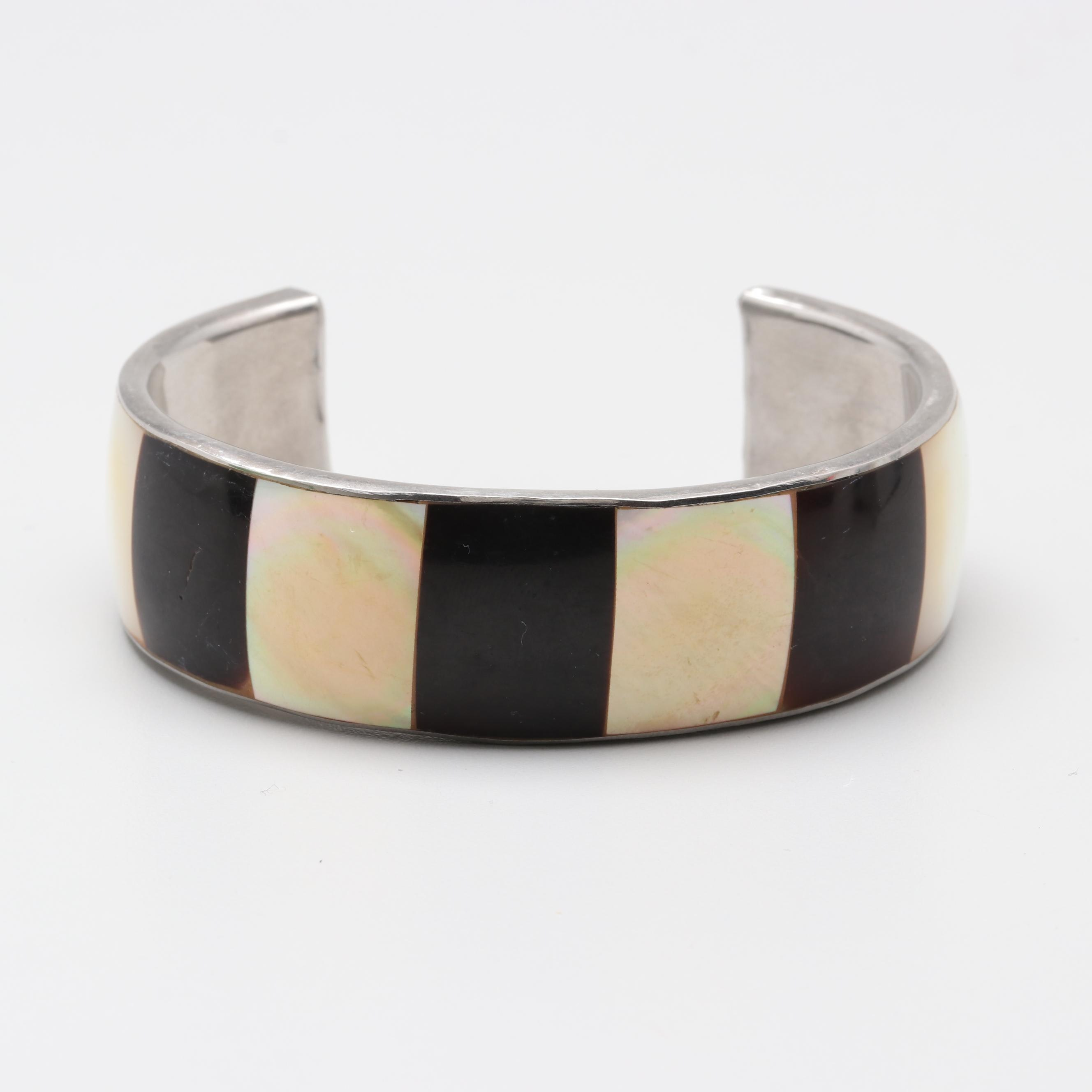 Silver Tone Mother of Pearl and Shell Cuff Bracelet