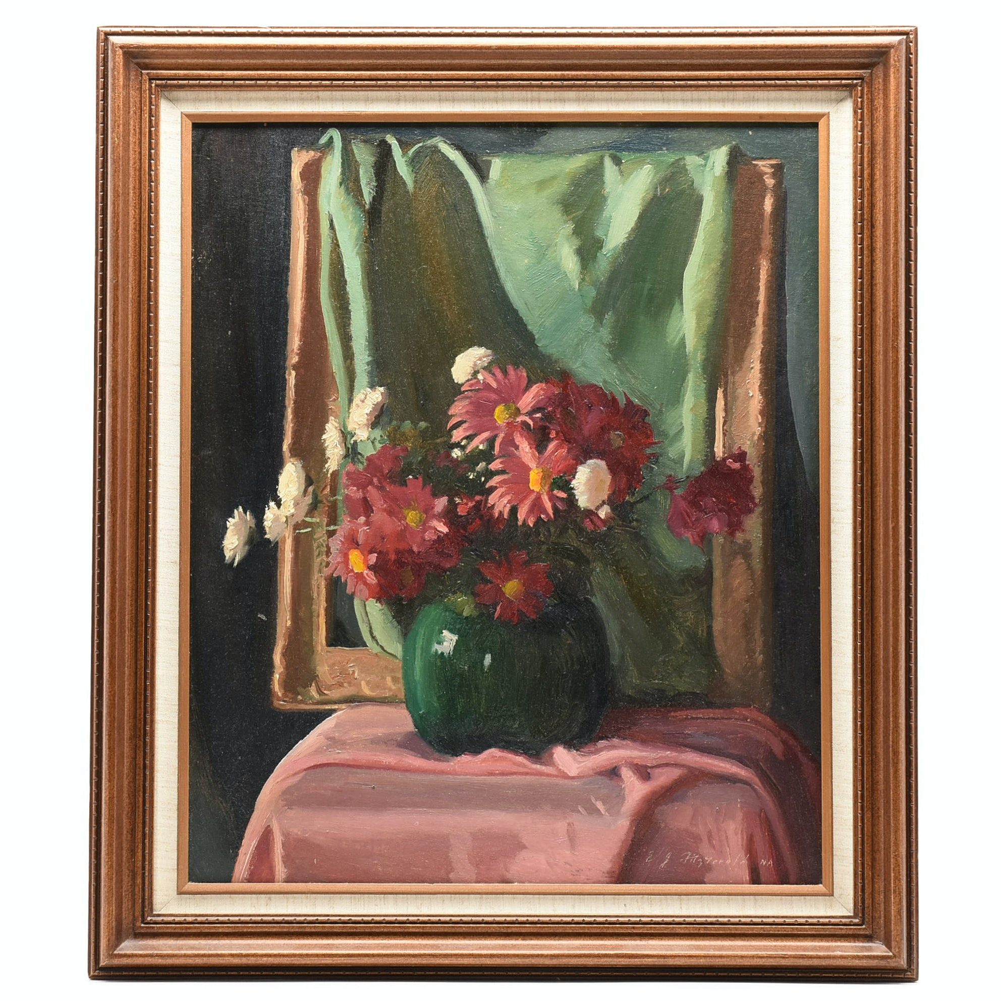 Edmond J. Fitzgerald Oil Painting on Canvas Floral Still Life