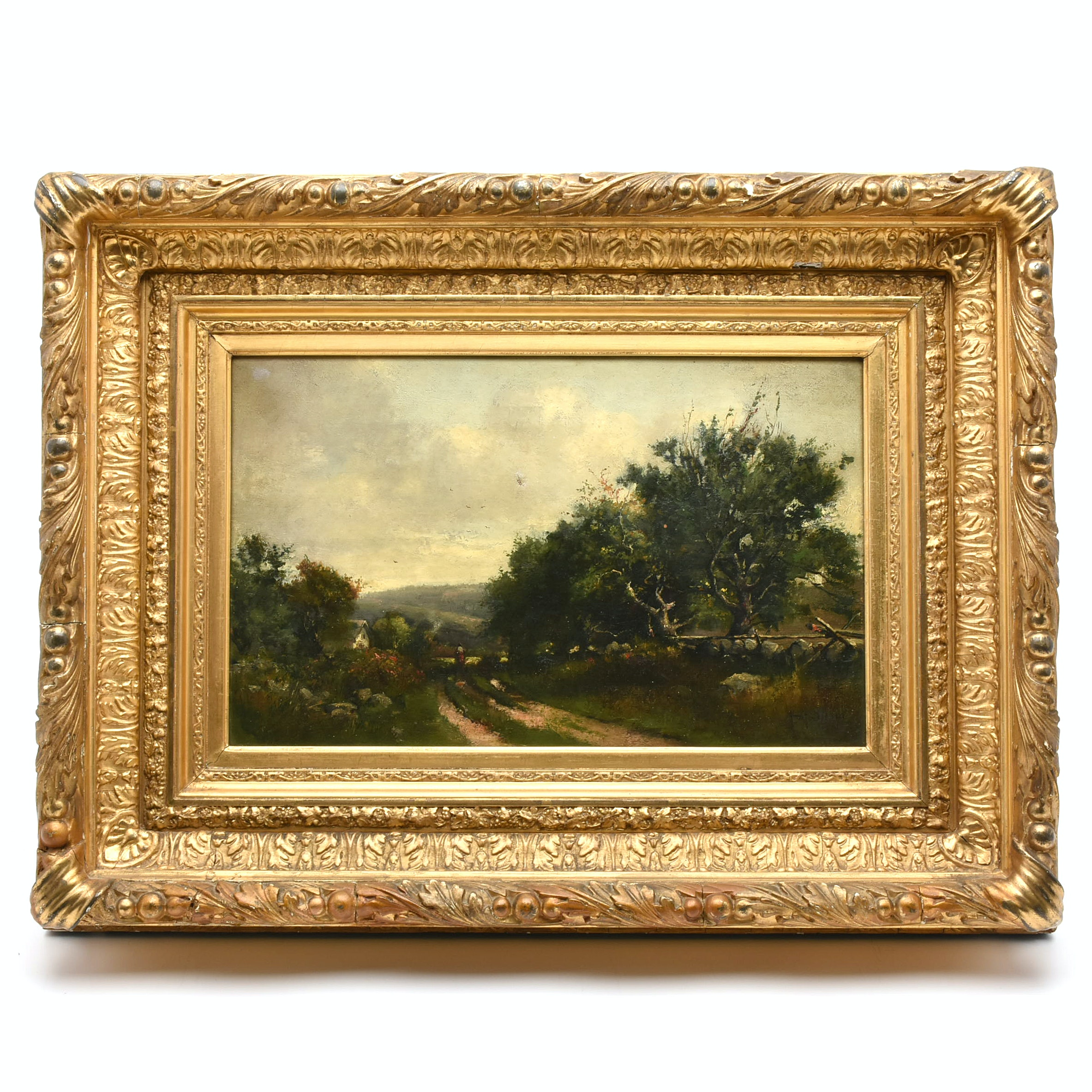 "Thadeus Defrees 1886 Oil Painting ""View on the 5 Mile Road"""