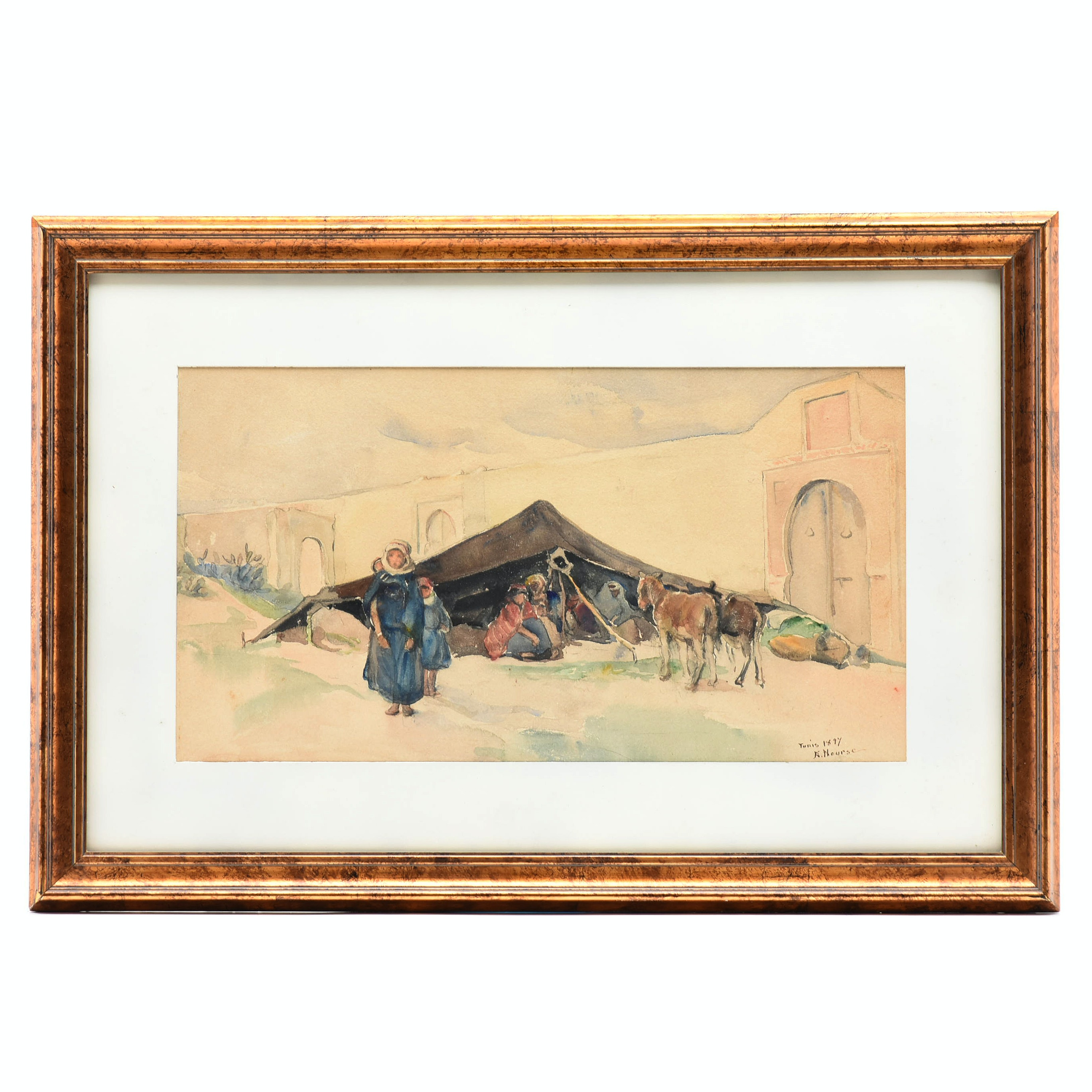 """Elizabeth Nourse 1897 Watercolor """"Bedouin Encampment, Tunisia"""""""
