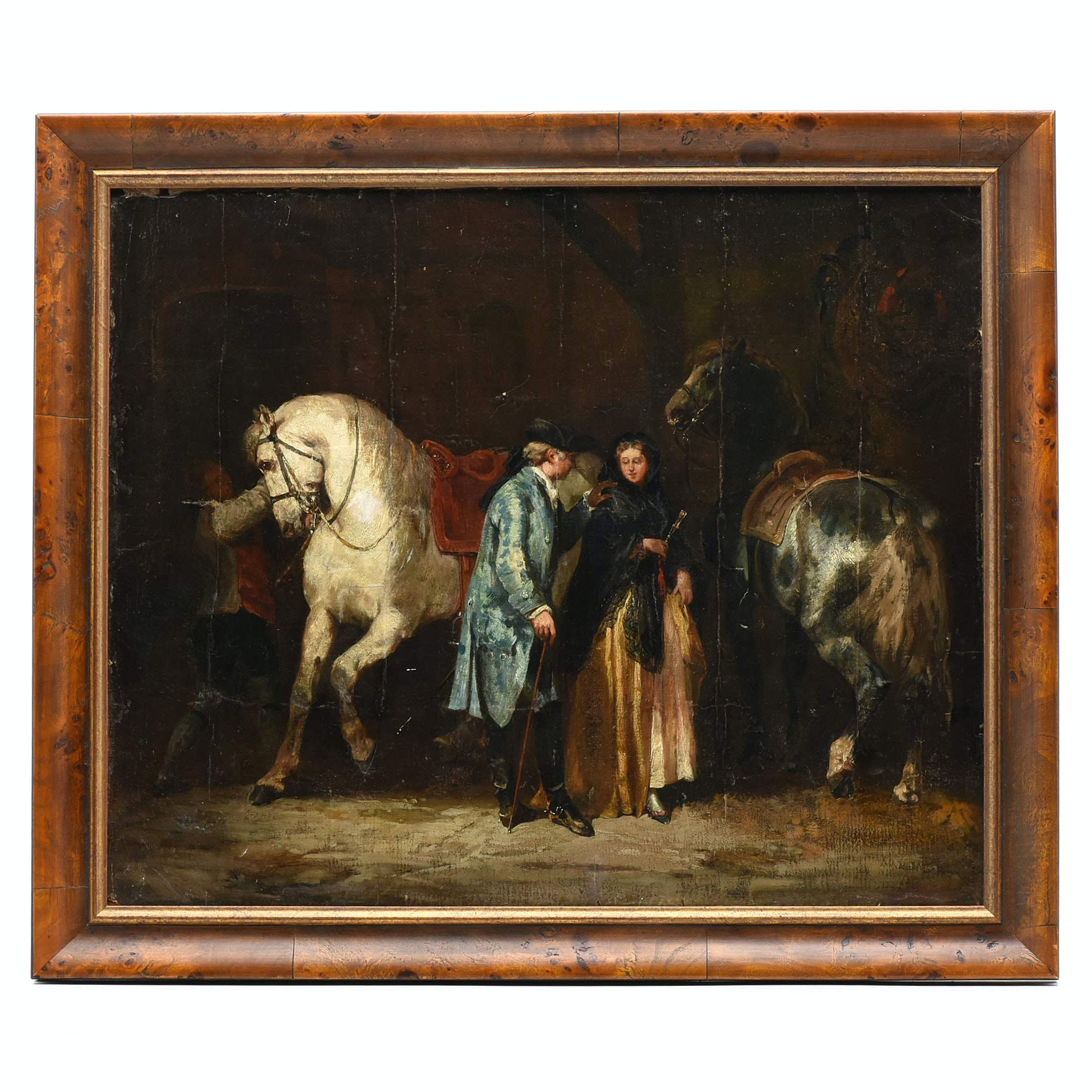 "John Lewis Brown 1860 Oil Painting ""Stately Couple with Stall"""