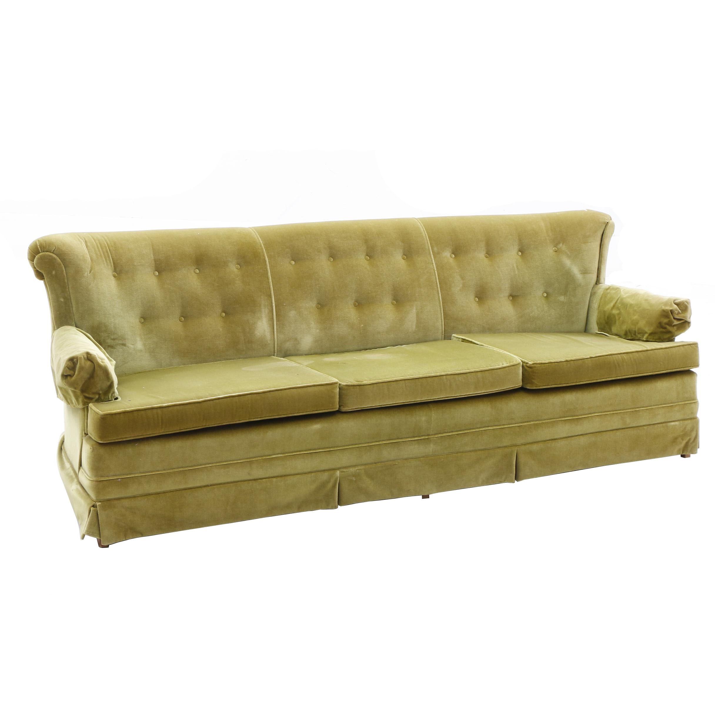 Vintage Button Tufted Velour Sofa