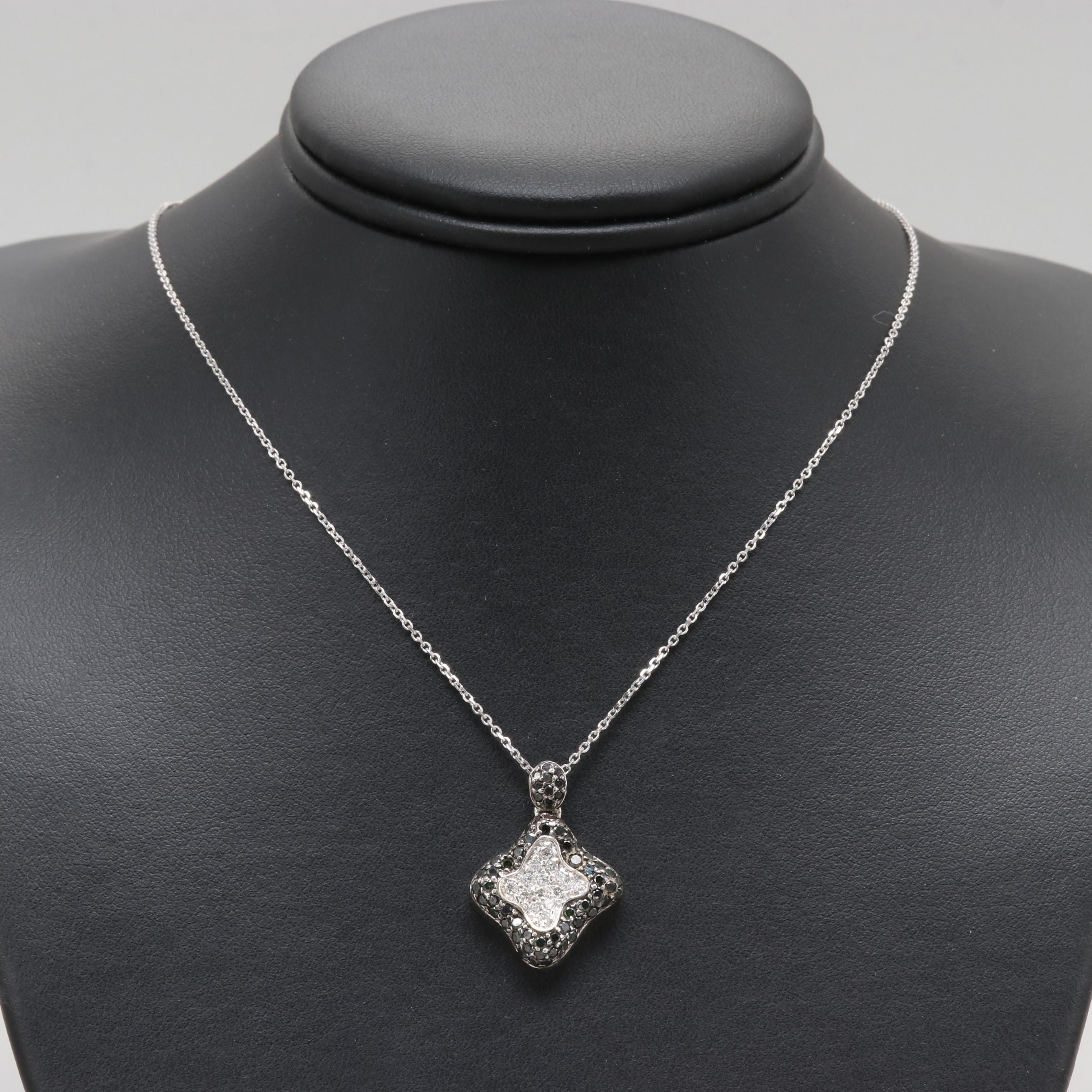14K and 18K White Gold Diamond Pendant Necklace