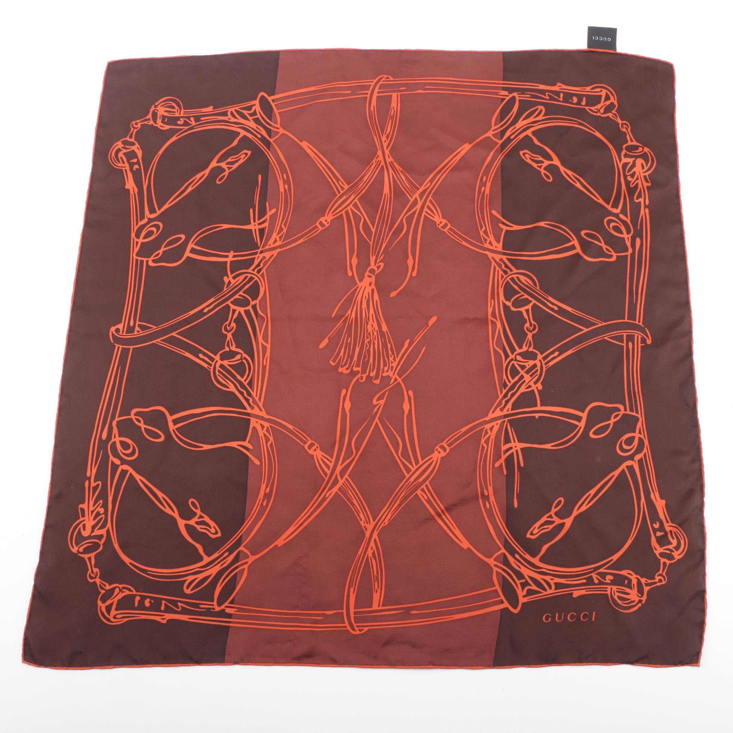 Gucci Equestrian Print Silk Scarf