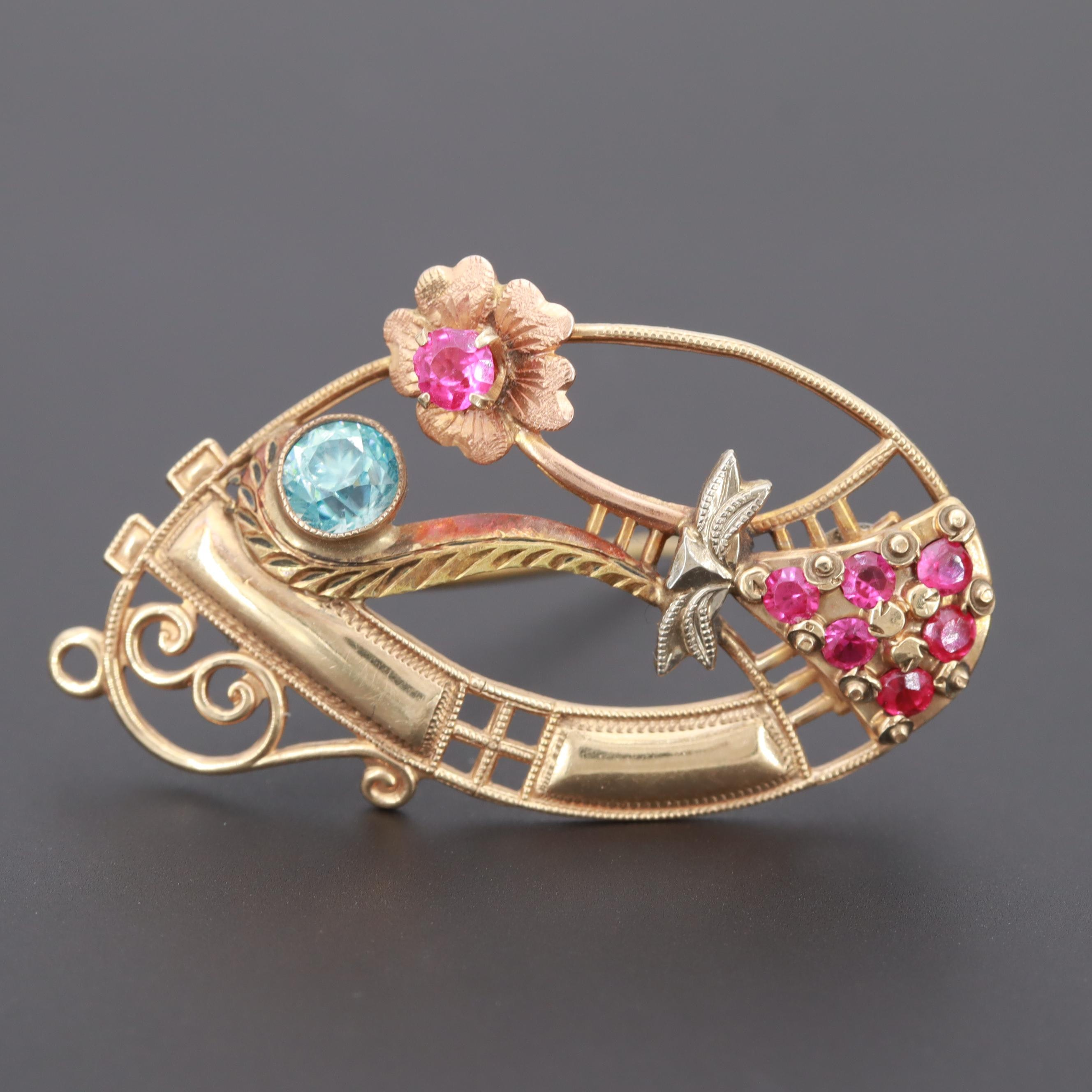 10K Yellow Gold Synthetic Ruby and Blue Zircon Brooch