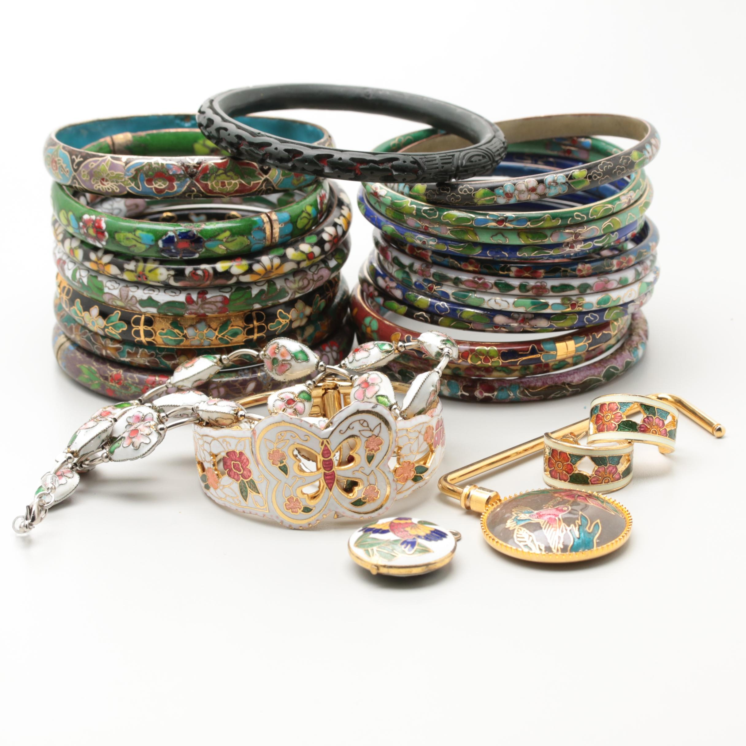 Large Collection of Chinese Cloisonné Jewelry